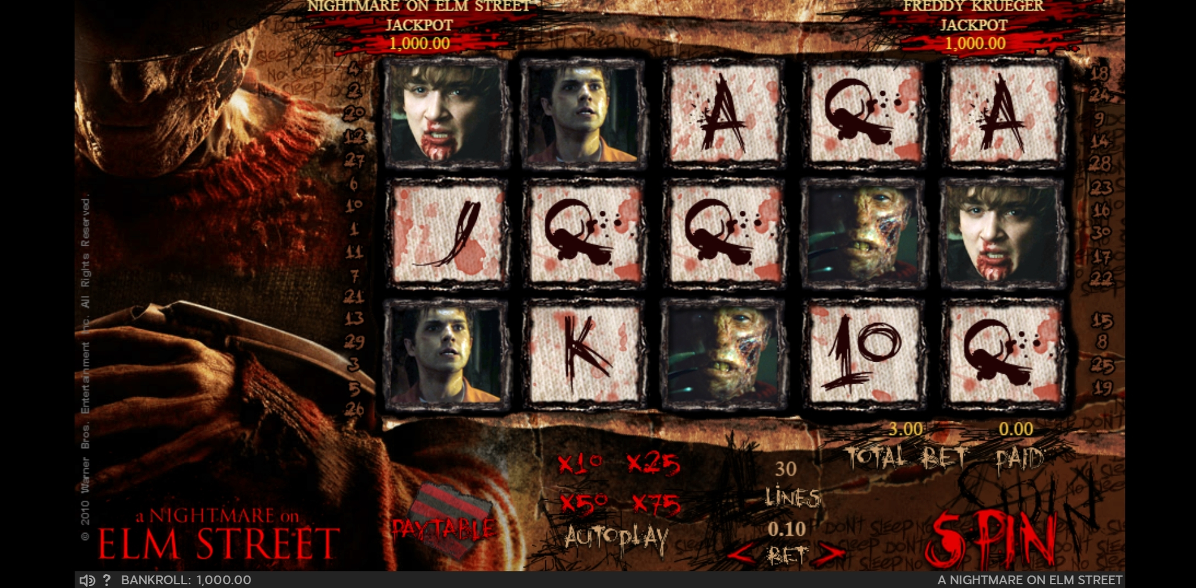 Reels in A Nightmare On Elm Street Slot Game by 888 Gaming