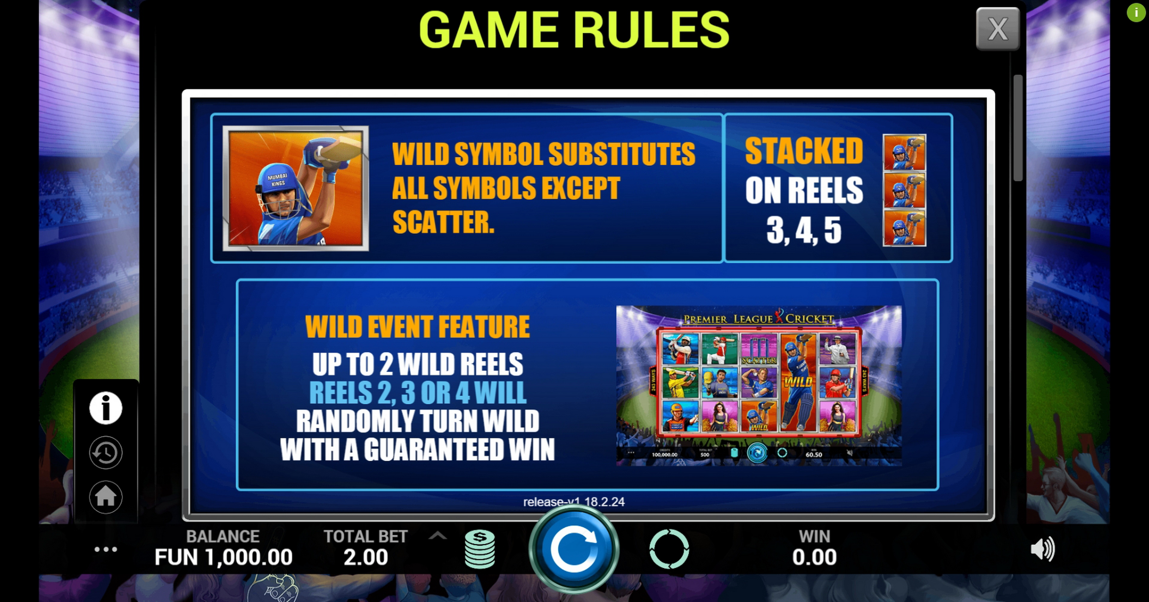 Info of Premier League Cricket Slot Game by Indi Slots