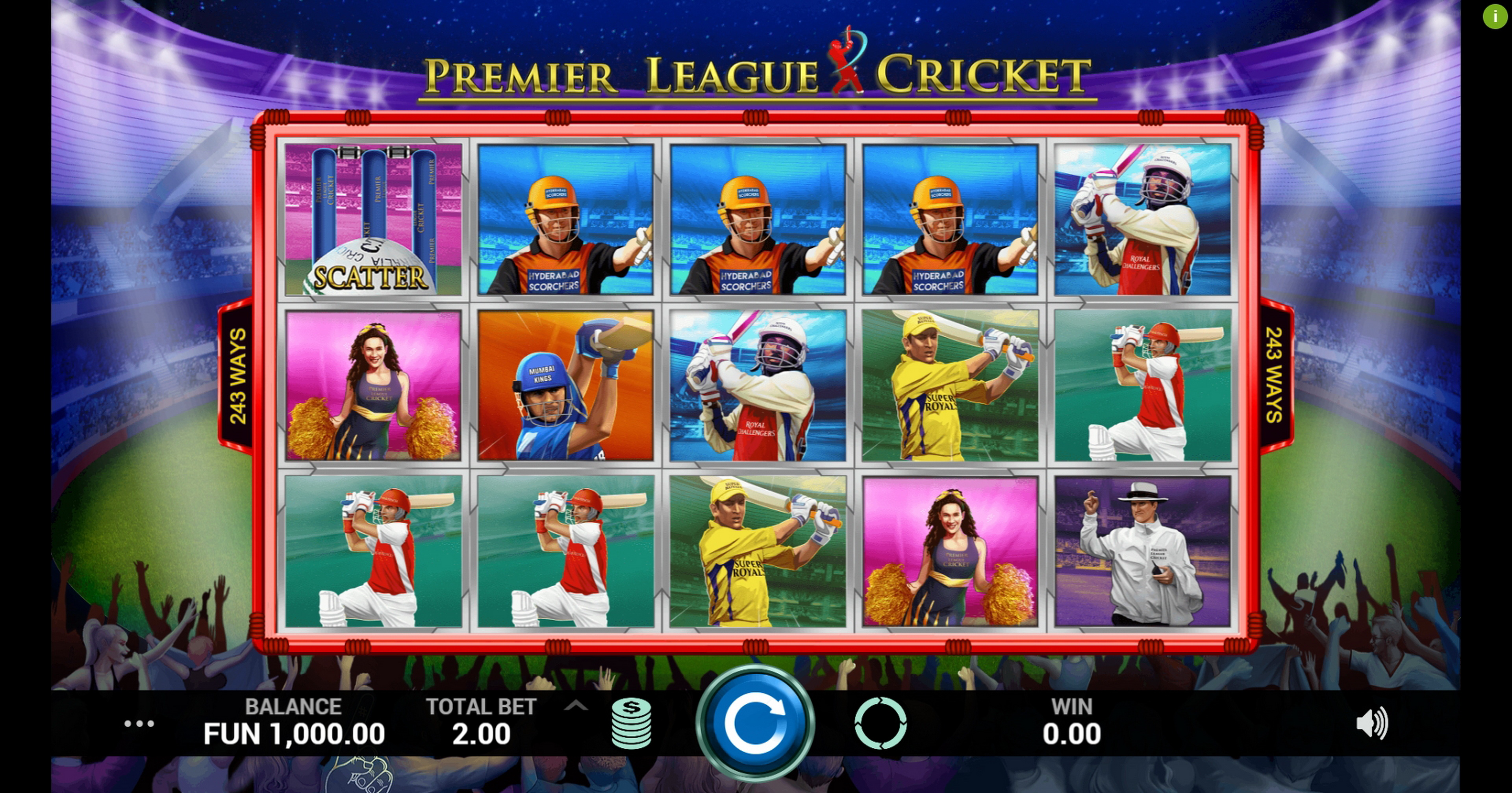 Reels in Premier League Cricket Slot Game by Indi Slots