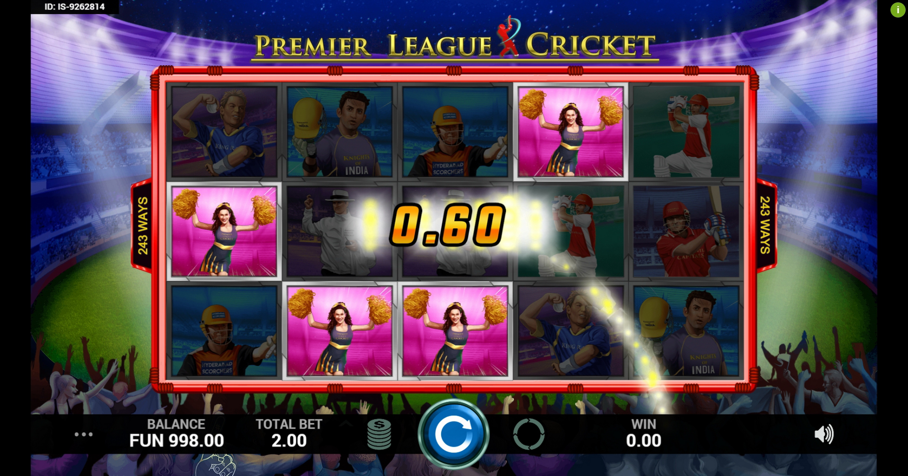 Win Money in Premier League Cricket Free Slot Game by Indi Slots