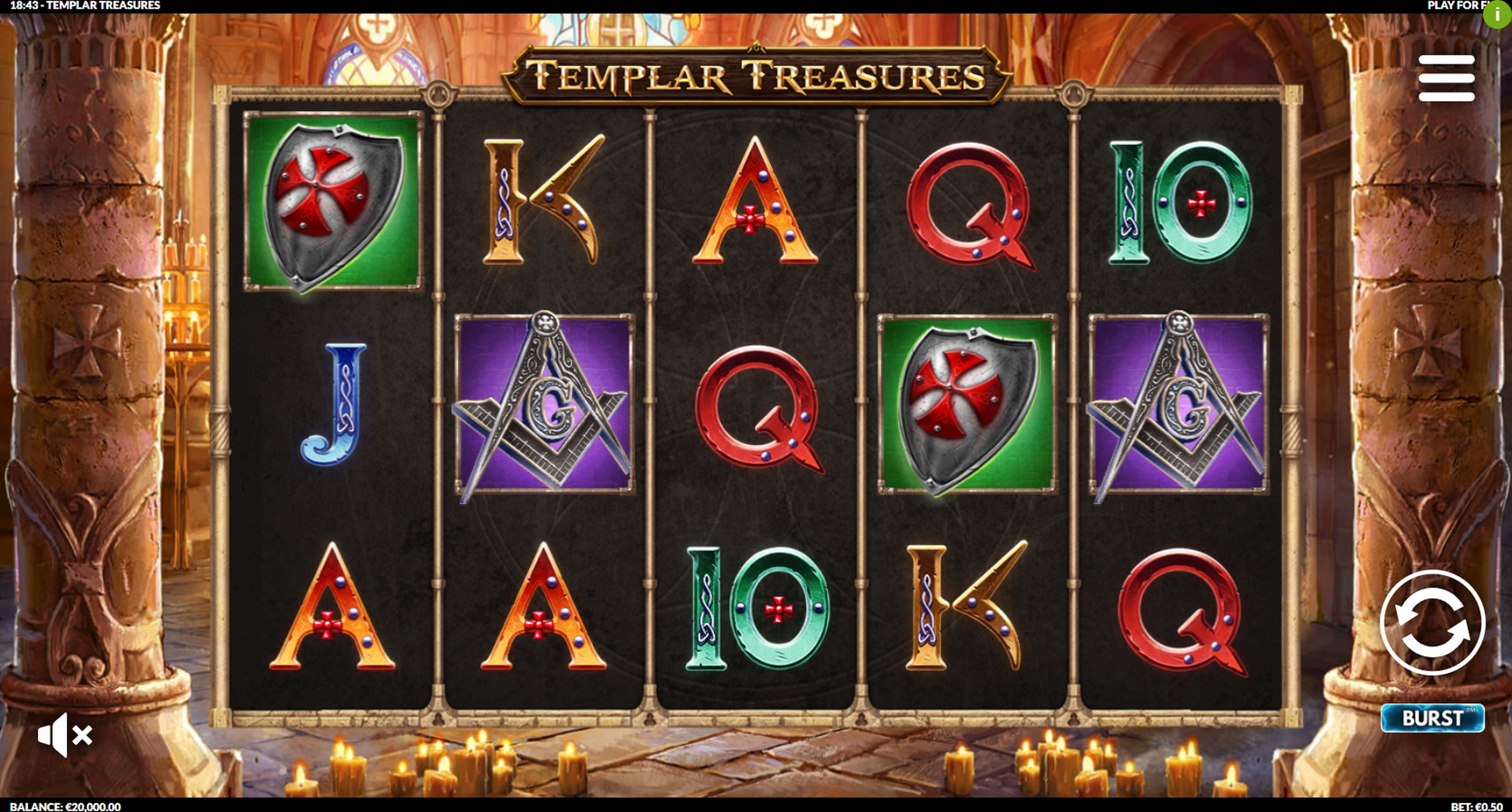 Reels in Templar Treasures Slot Game by Slotmill