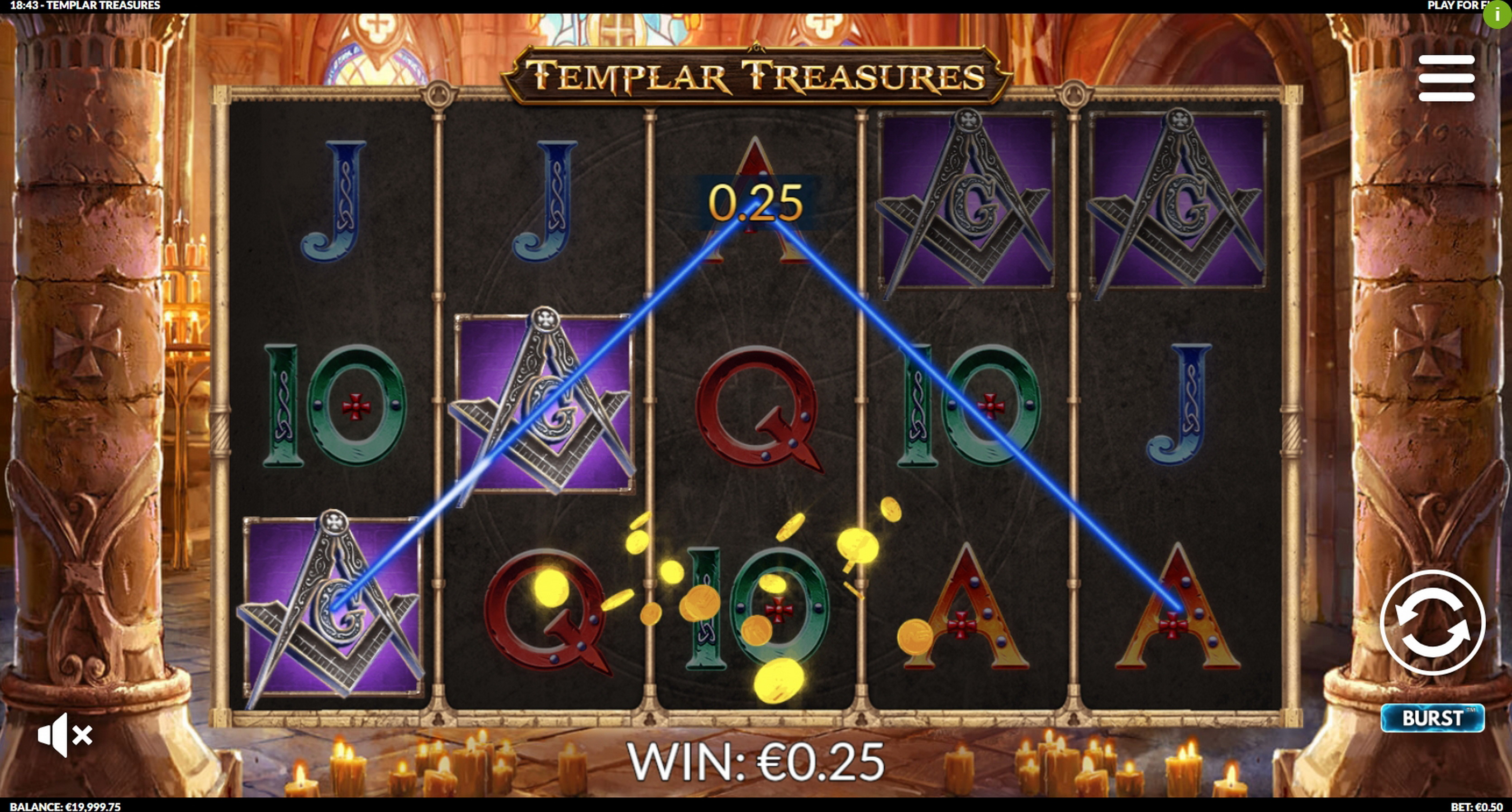 Win Money in Templar Treasures Free Slot Game by Slotmill