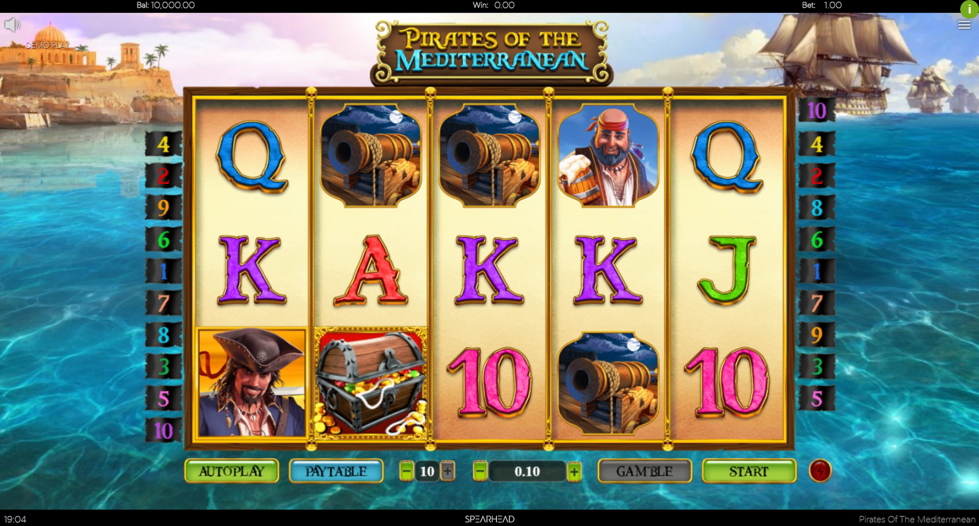 Reels in Pirates Of The Mediterranean Slot Game by Spearhead Studios