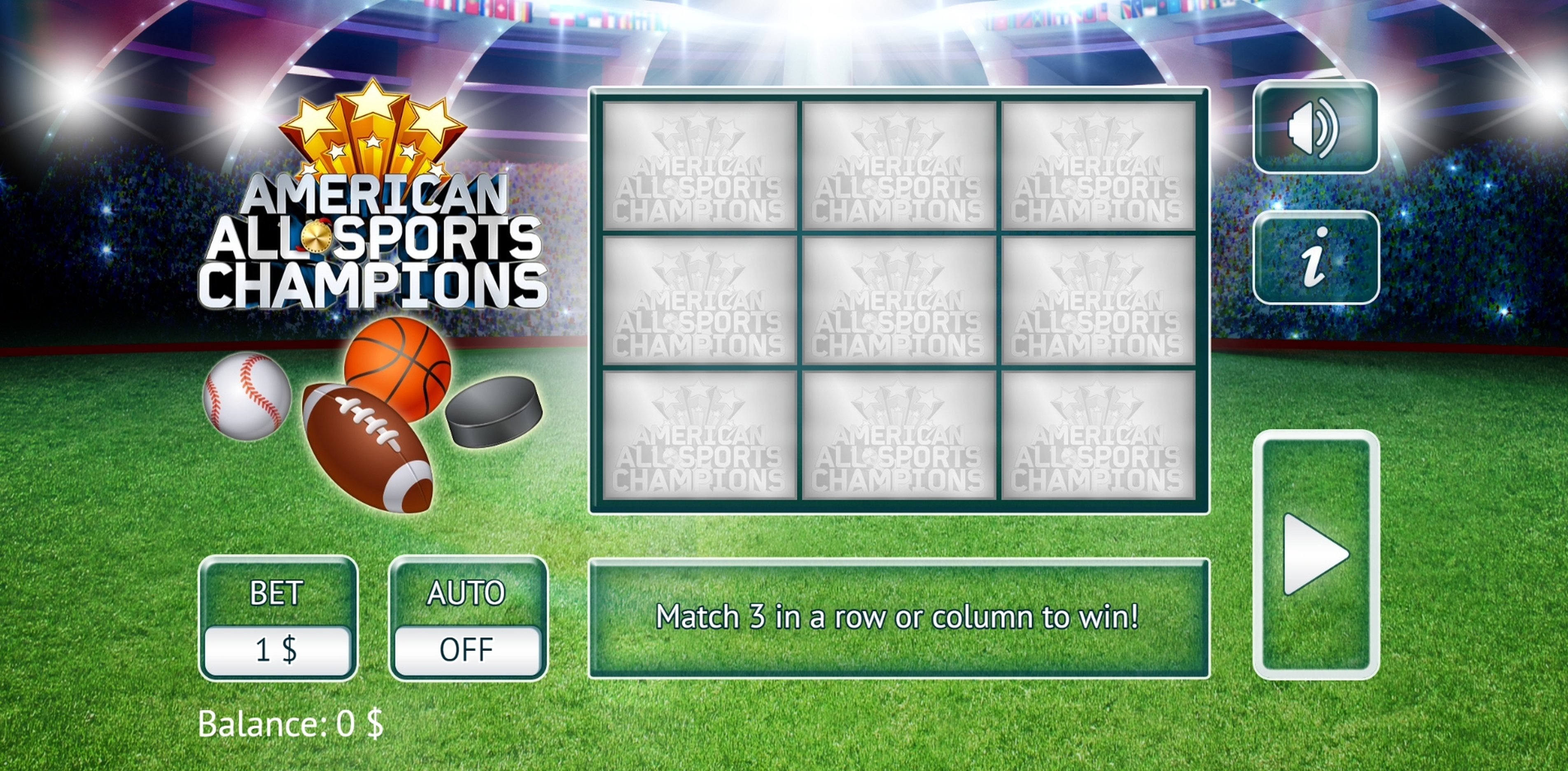 Reels in American All Sports Slot Game by Vermantia