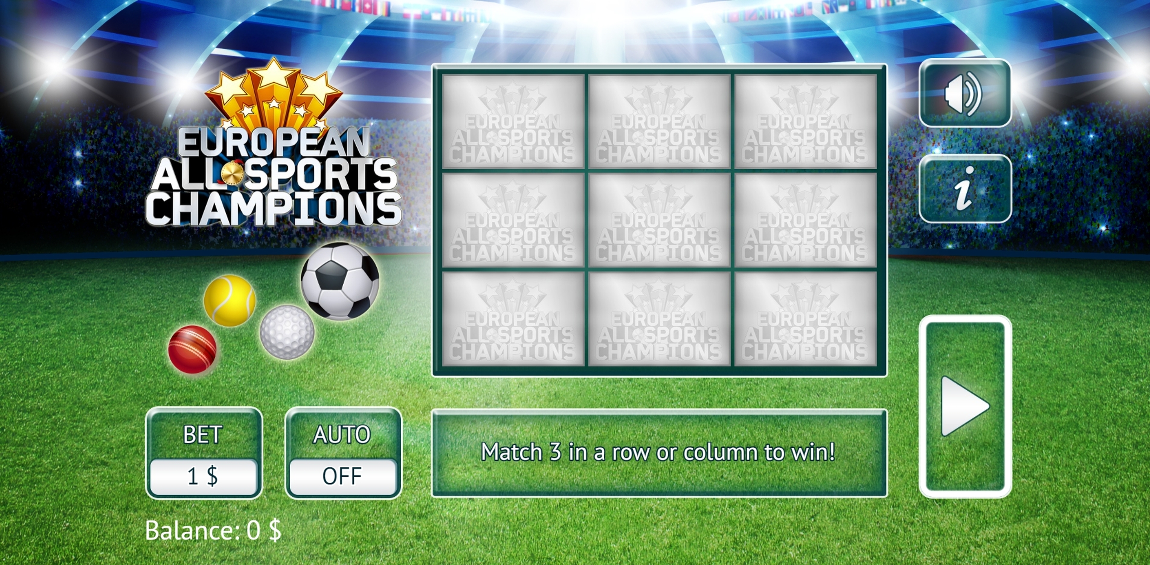 Reels in European All Sports Slot Game by Vermantia