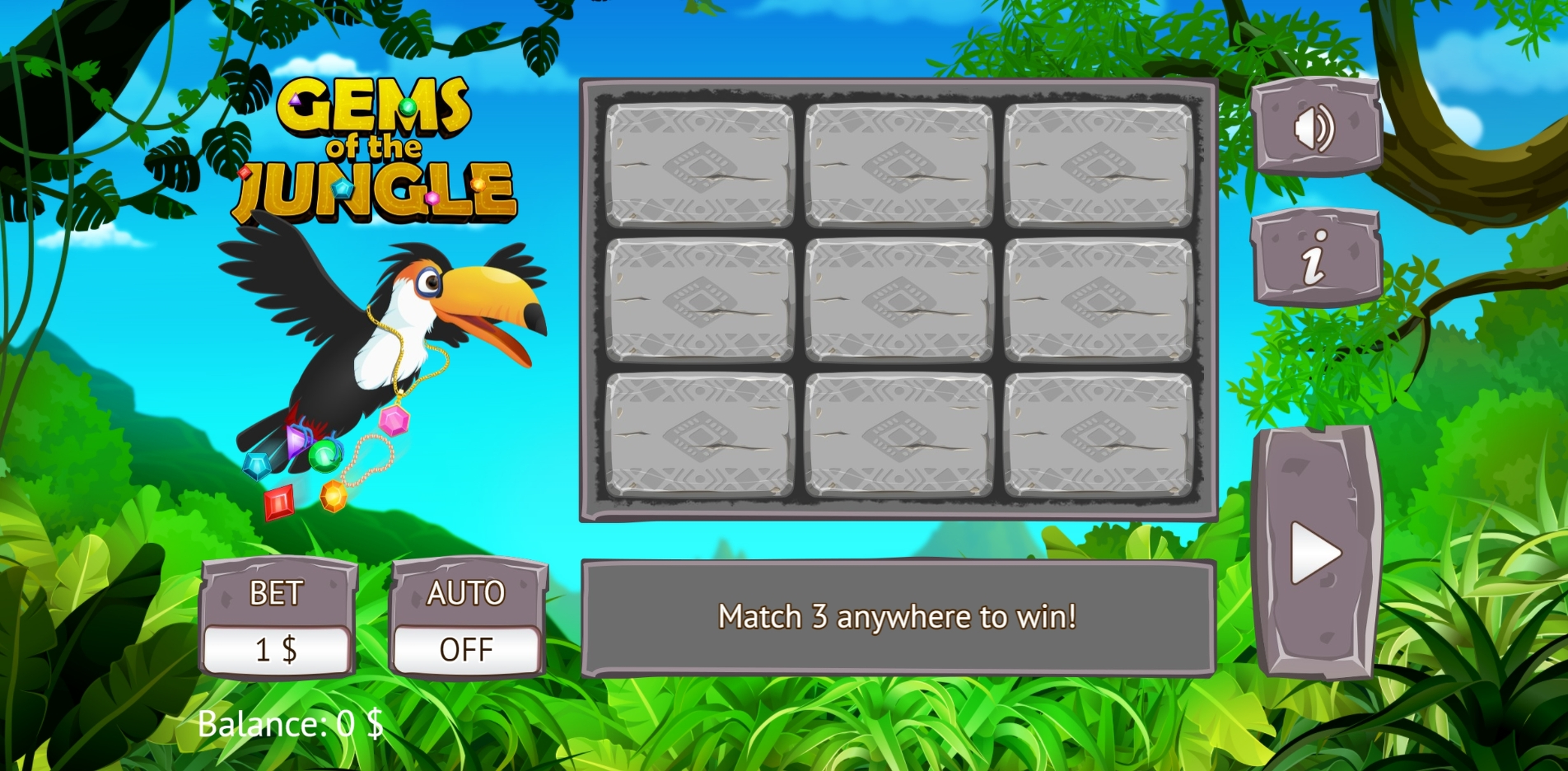 Reels in Gems of the Jungle Slot Game by Vermantia
