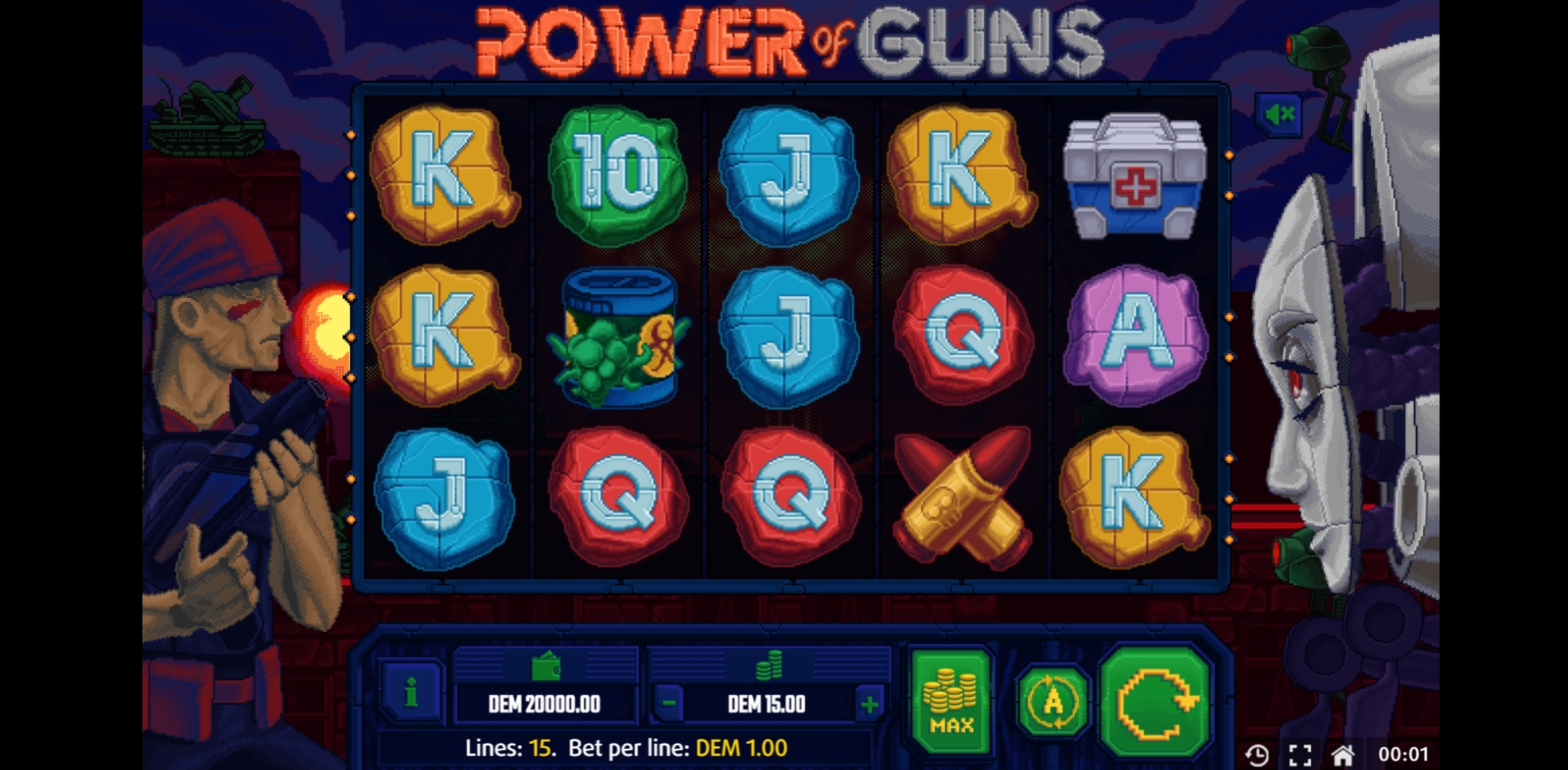 Reels in Power of Guns Slot Game by X Line