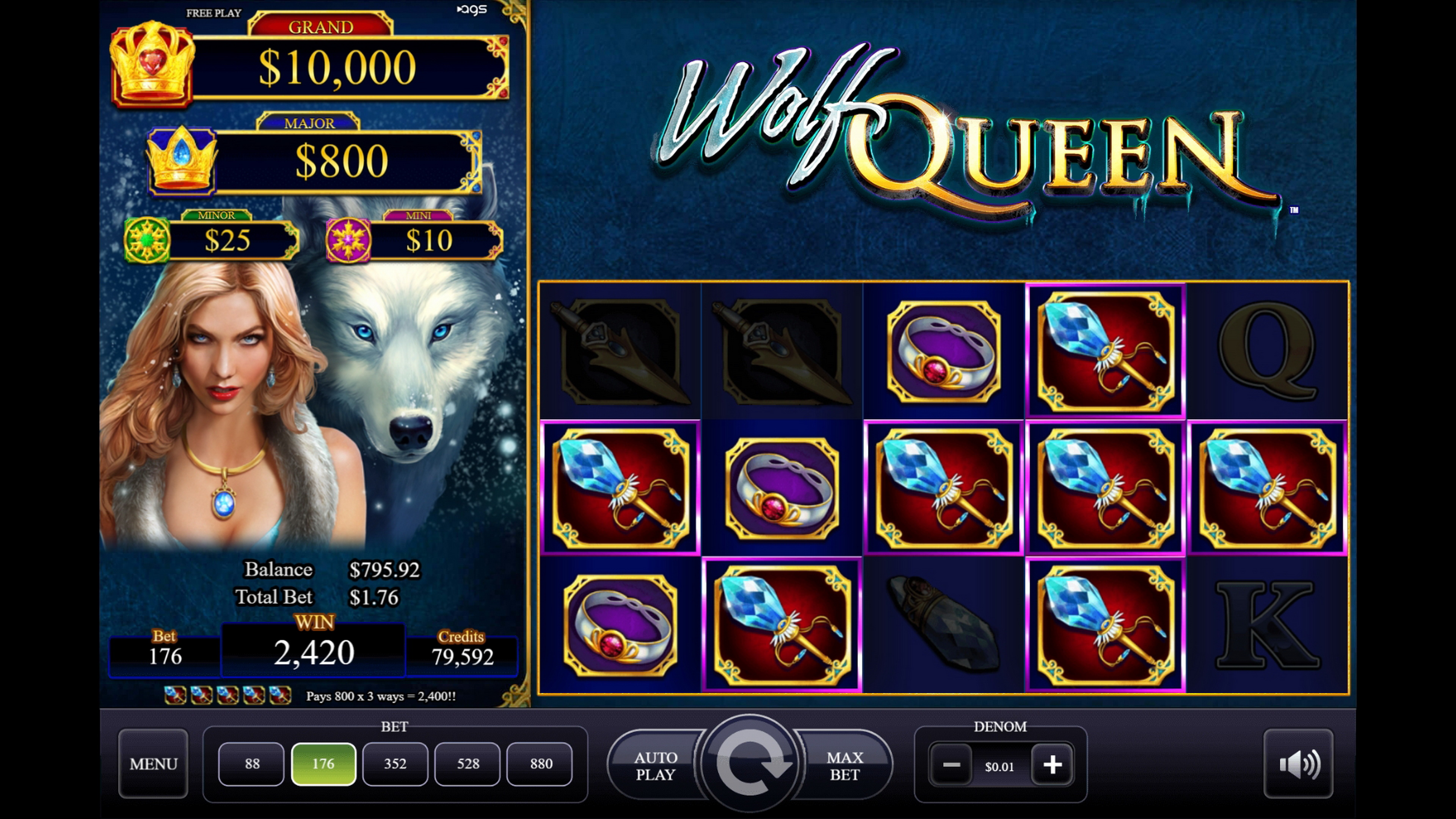 Win Money in Wolf Queen Free Slot Game by AGS