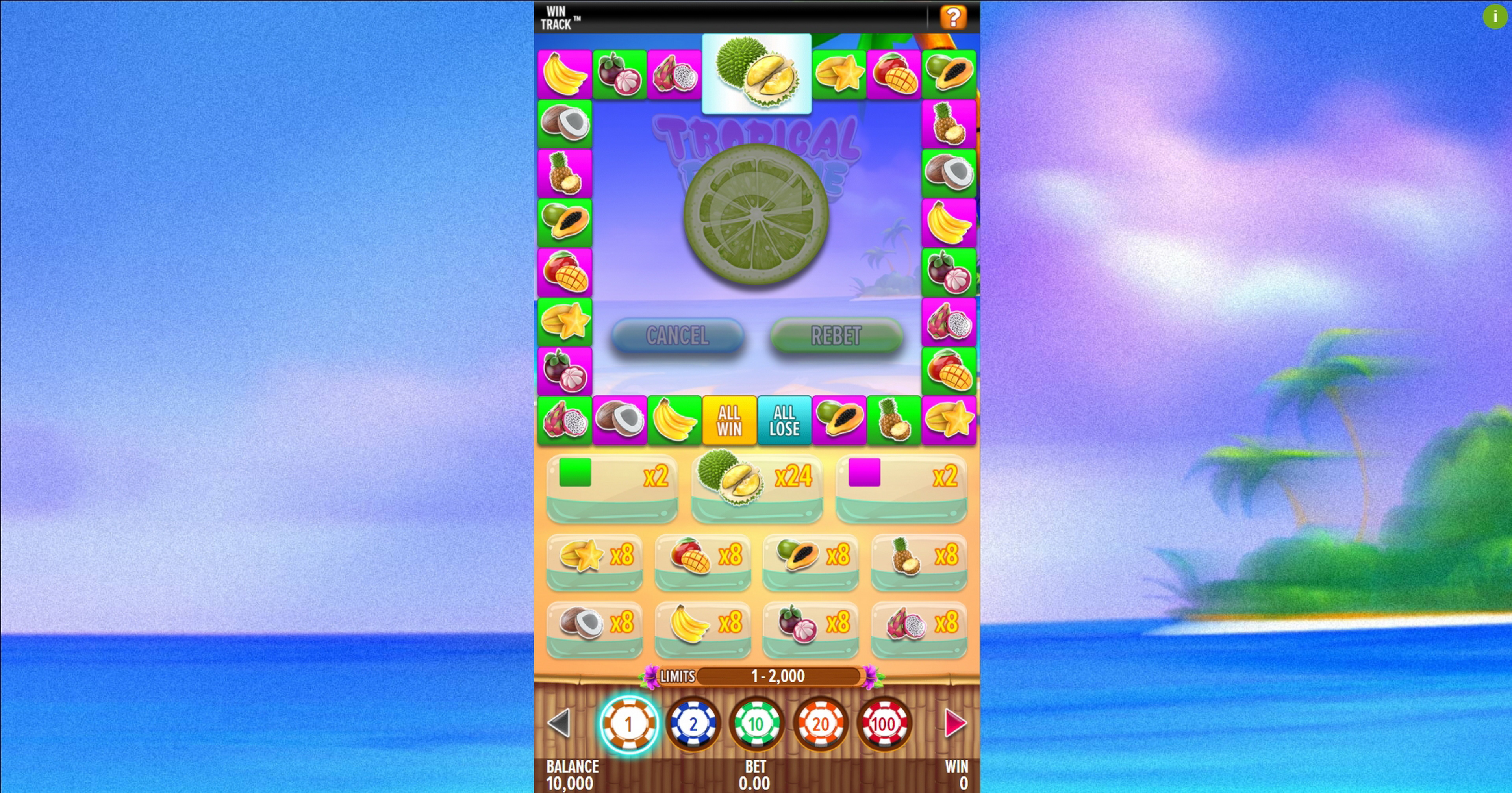 Reels in Tropical Fruitsie Slot Game by Aspect Gaming