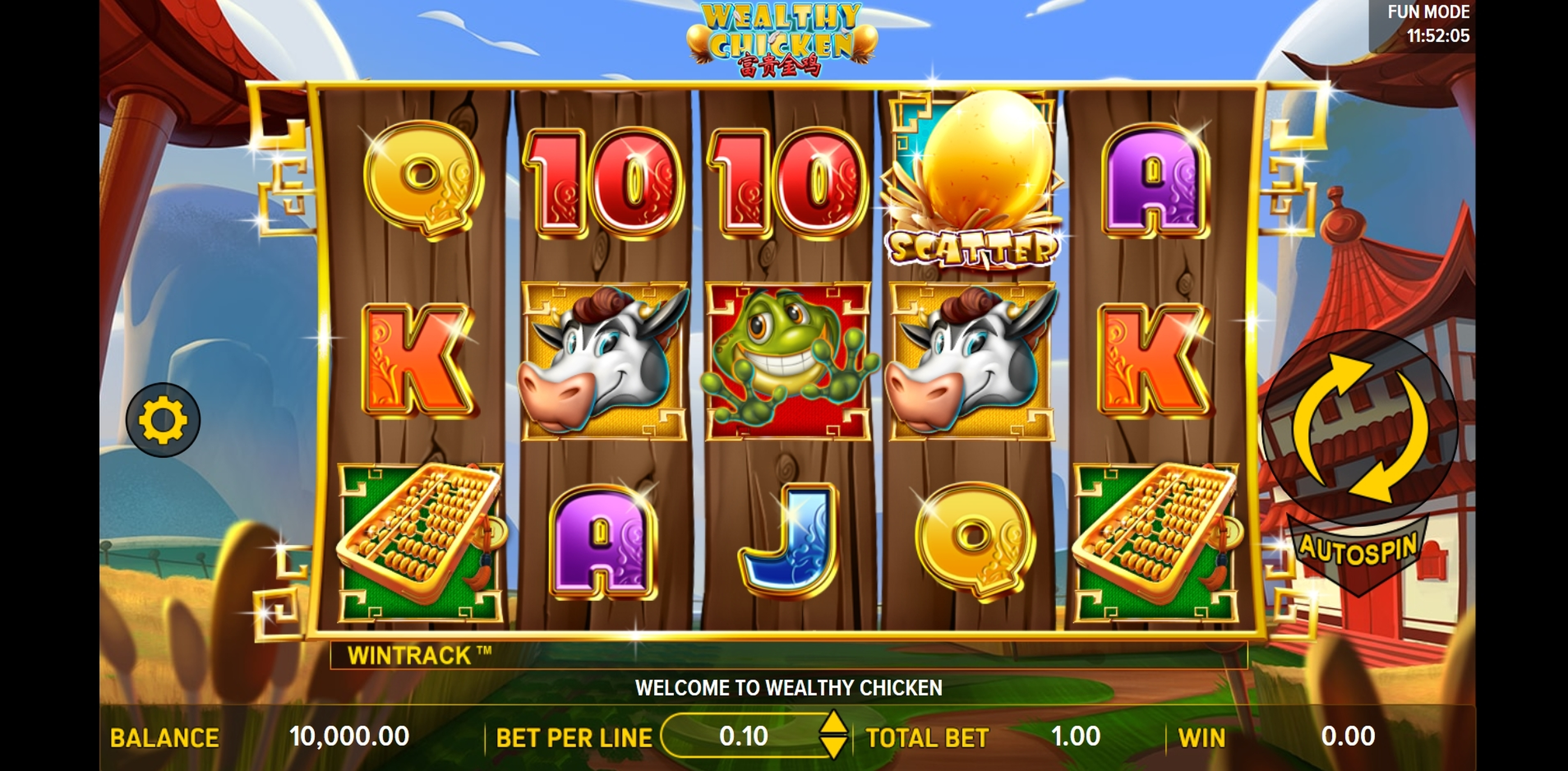 Reels in Wealthy Chicken Slot Game by Aspect Gaming