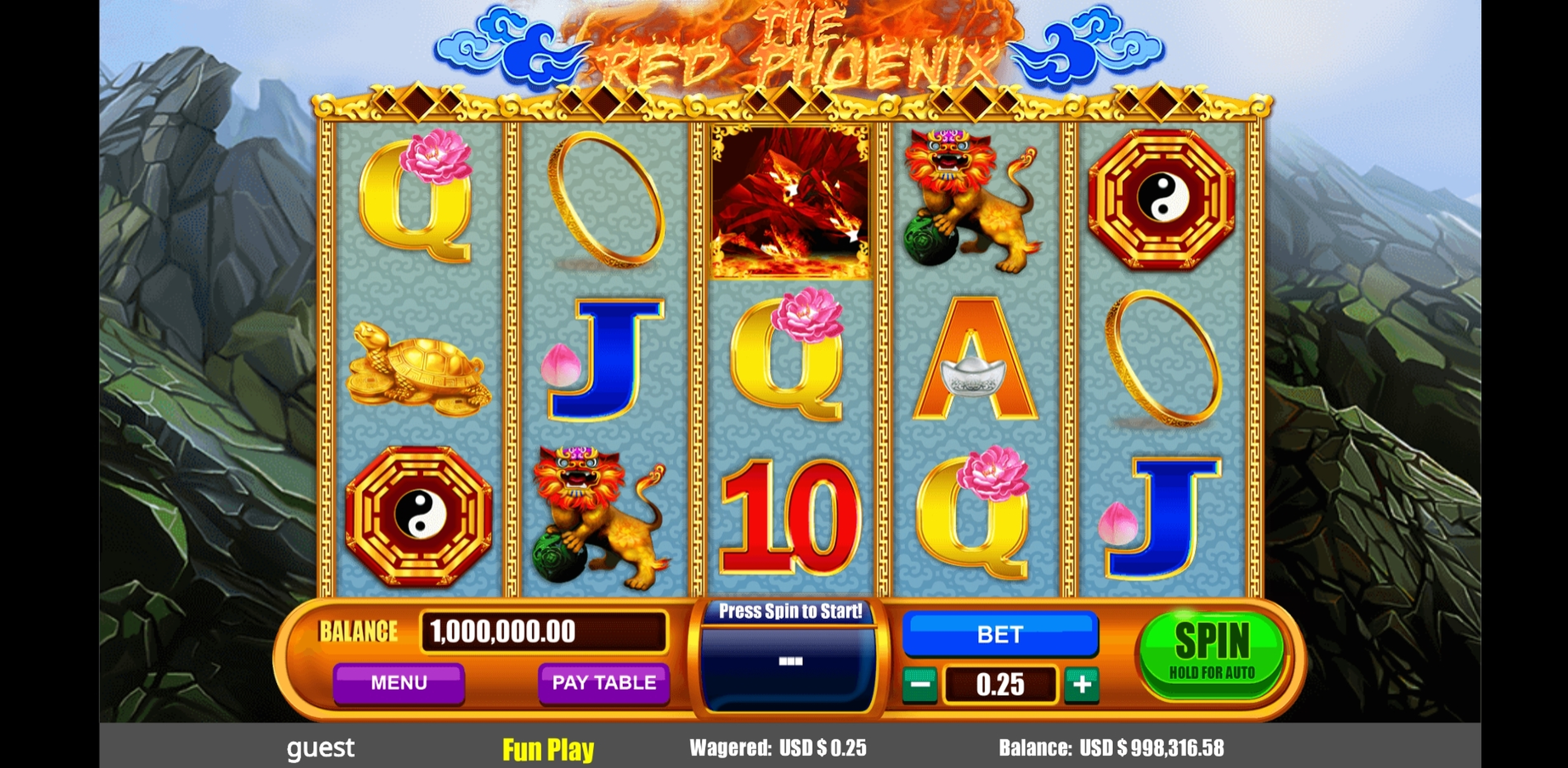 Reels in The Red Phoenix Slot Game by August Gaming