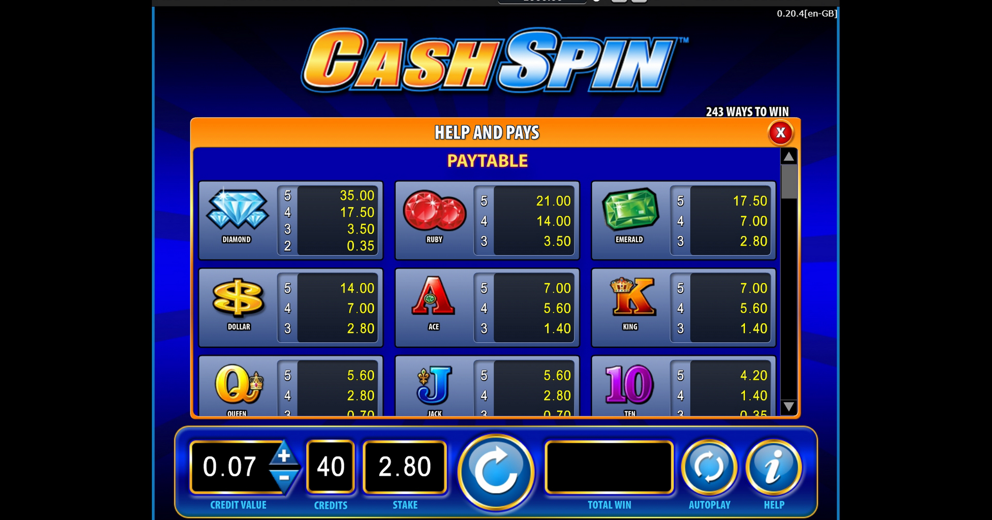 Info of Cash Spin Slot Game by Bally Technologies