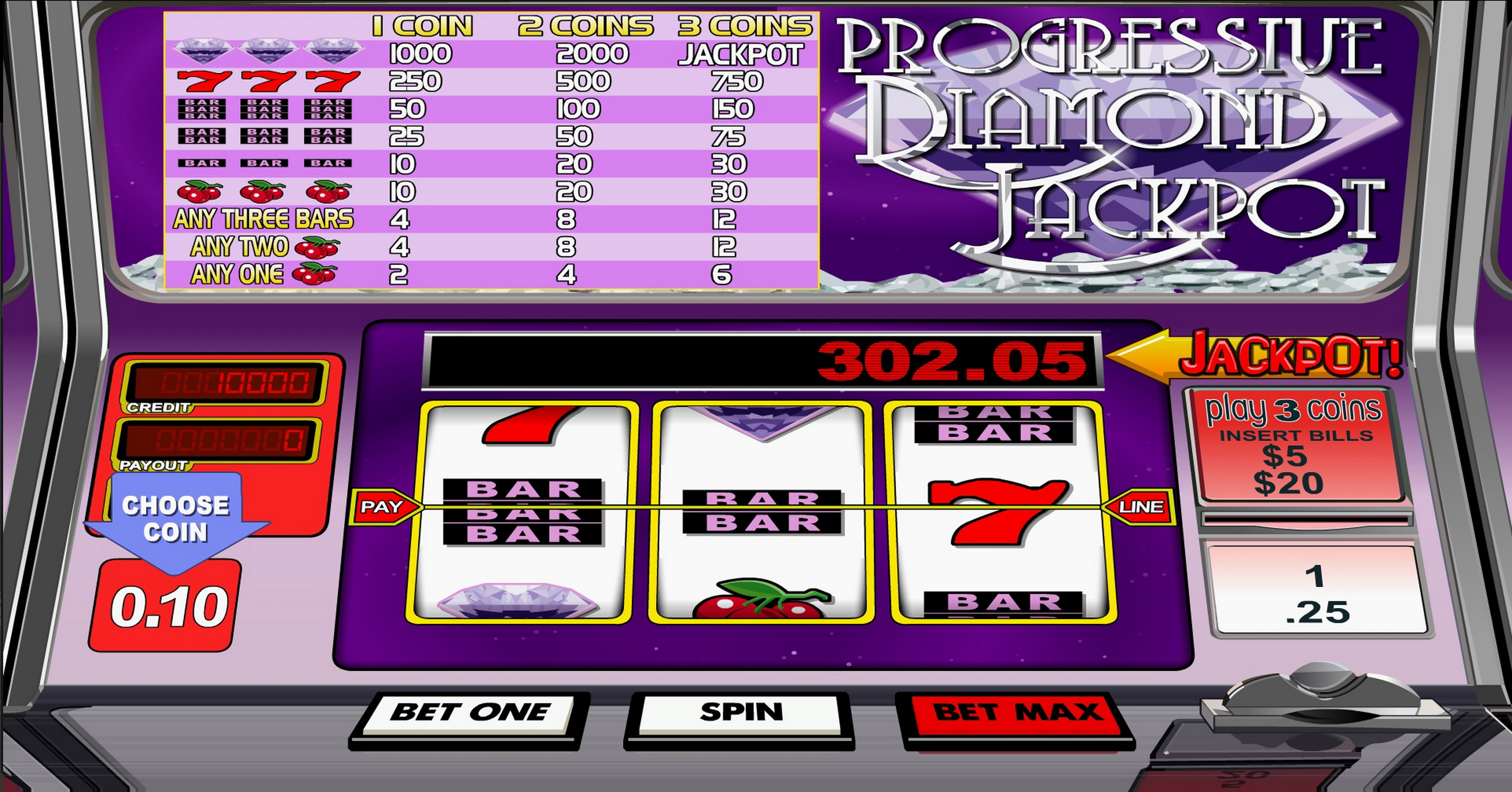 Reels in Diamond Jackpot Slot Game by Betsoft