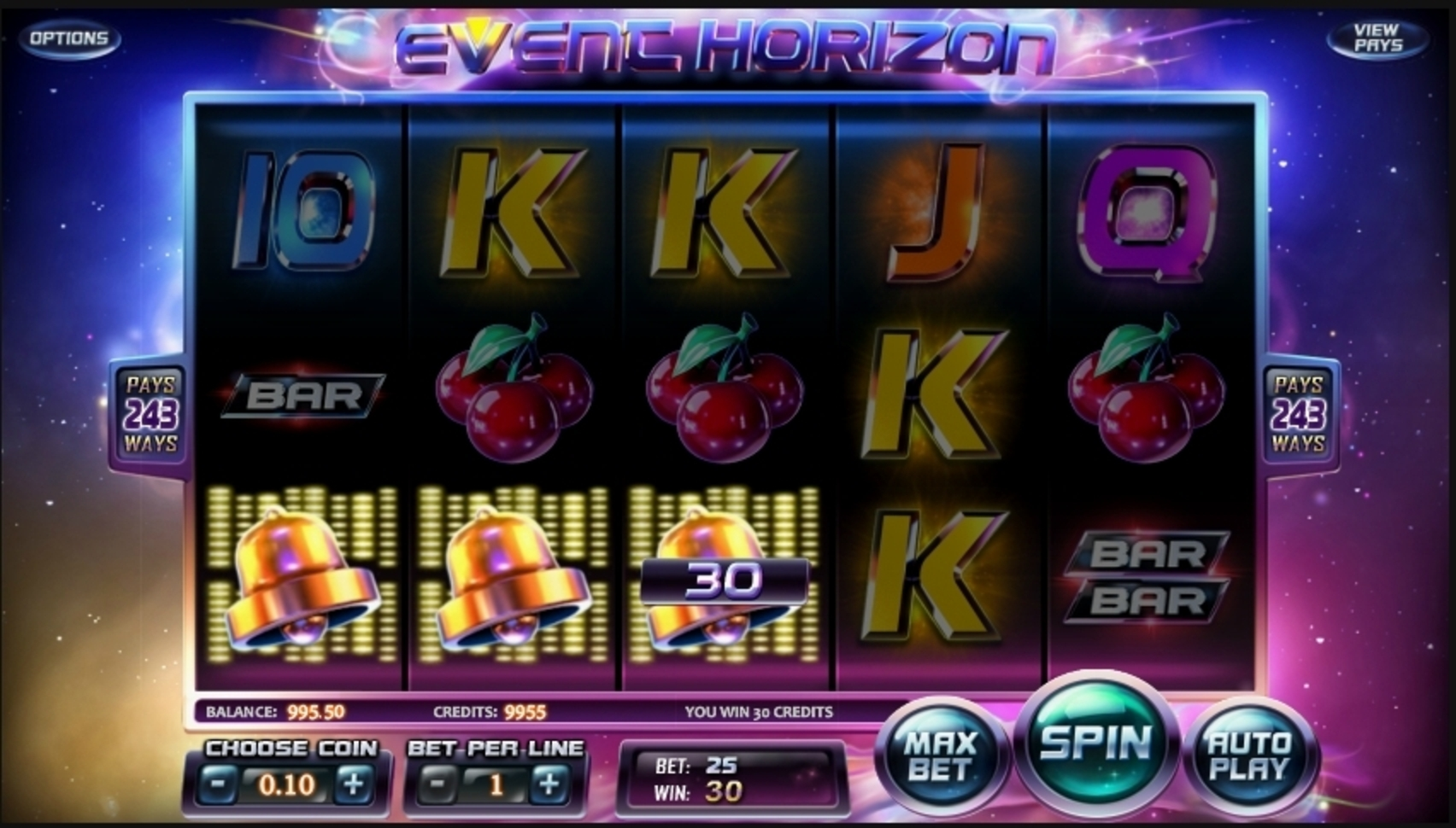Win Money in Event Horizon Free Slot Game by Betsoft