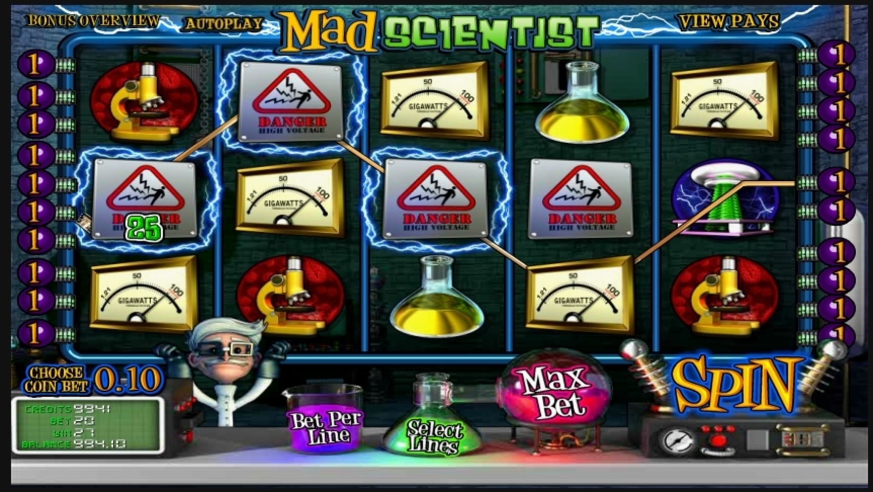 Win Money in Mad Scientist Free Slot Game by Betsoft