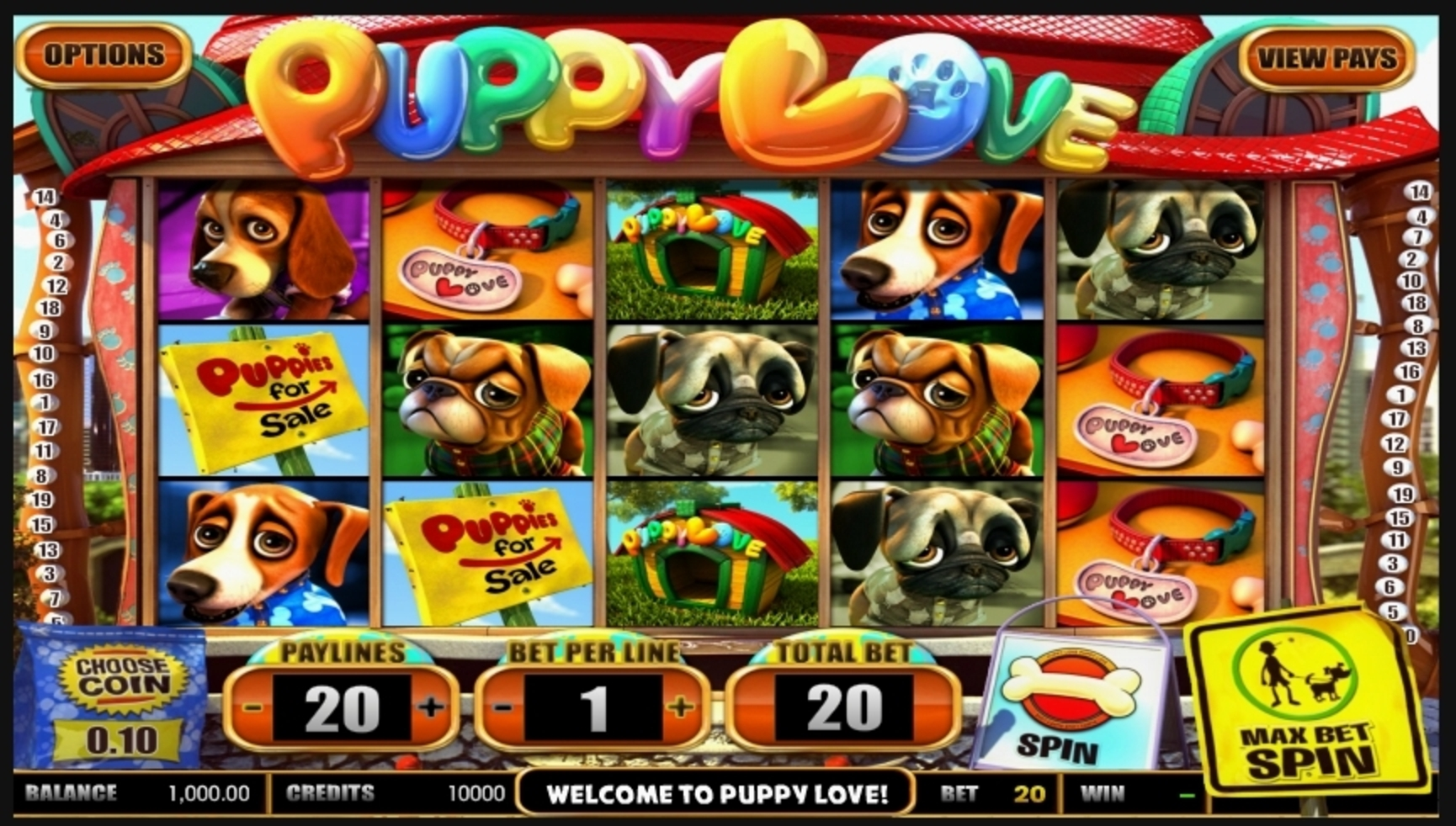 Reels in Puppy Love Slot Game by Betsoft