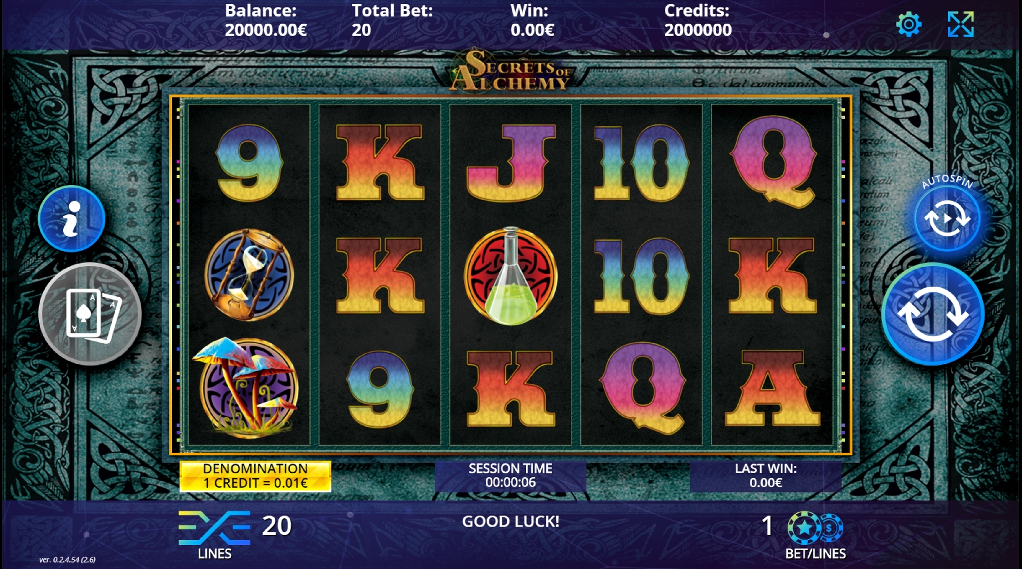 Reels in Secrets of Alchemy (DLV) Slot Game by DLV