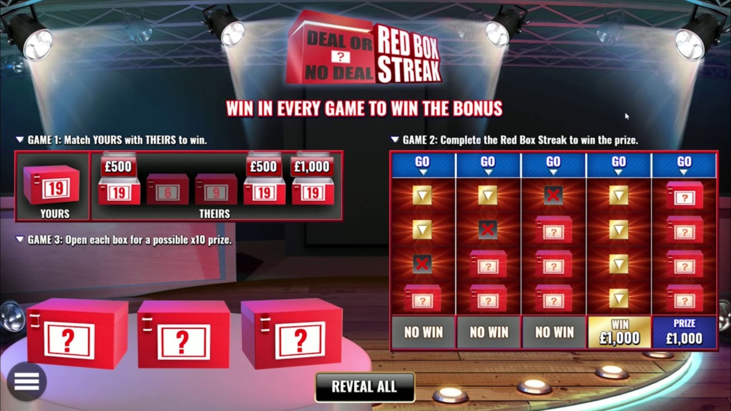 The Deal or No Deal Red Box Streak Online Slot Demo Game by Endemol Games