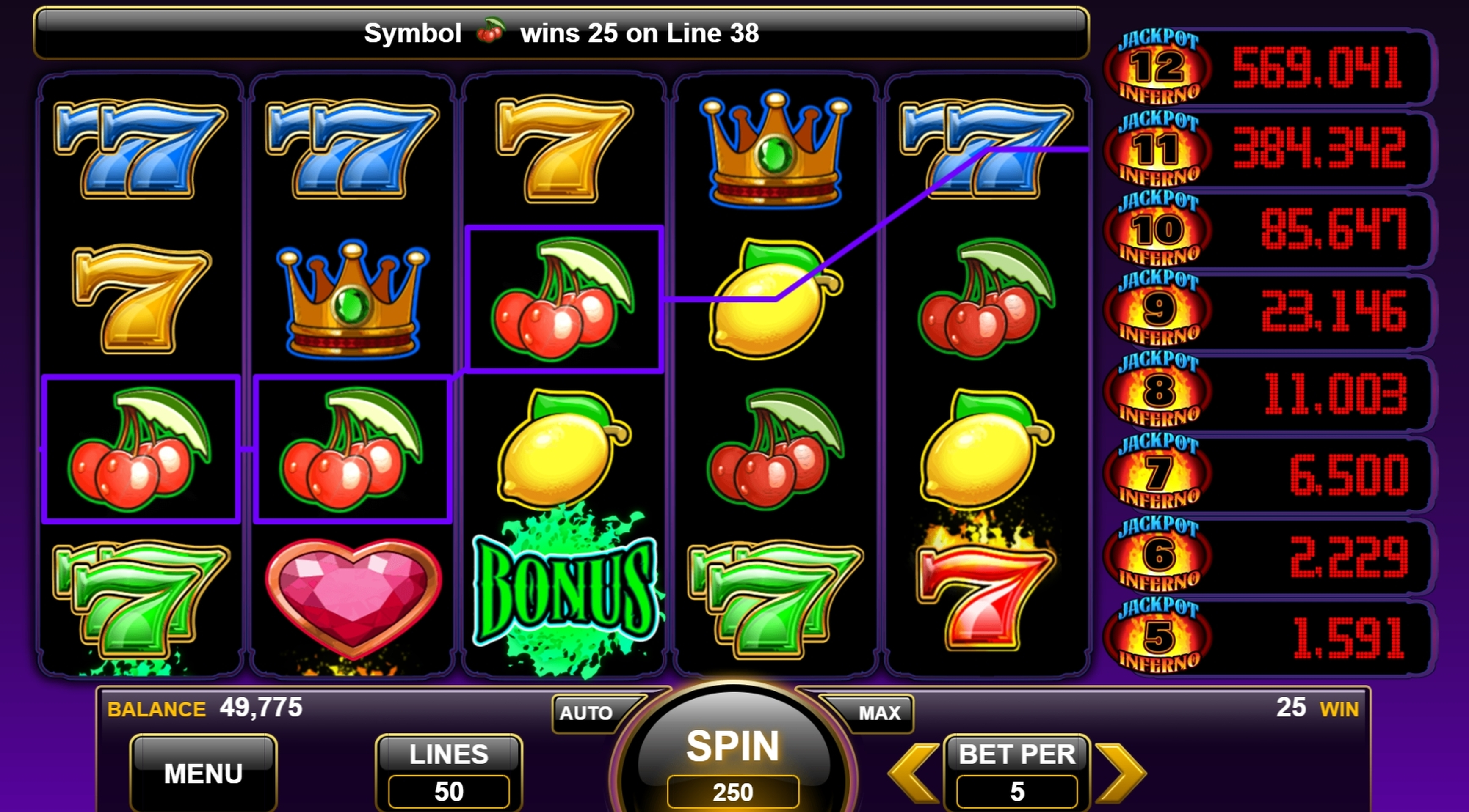 Win Money in Jackpot Inferno Free Slot Game by Everi