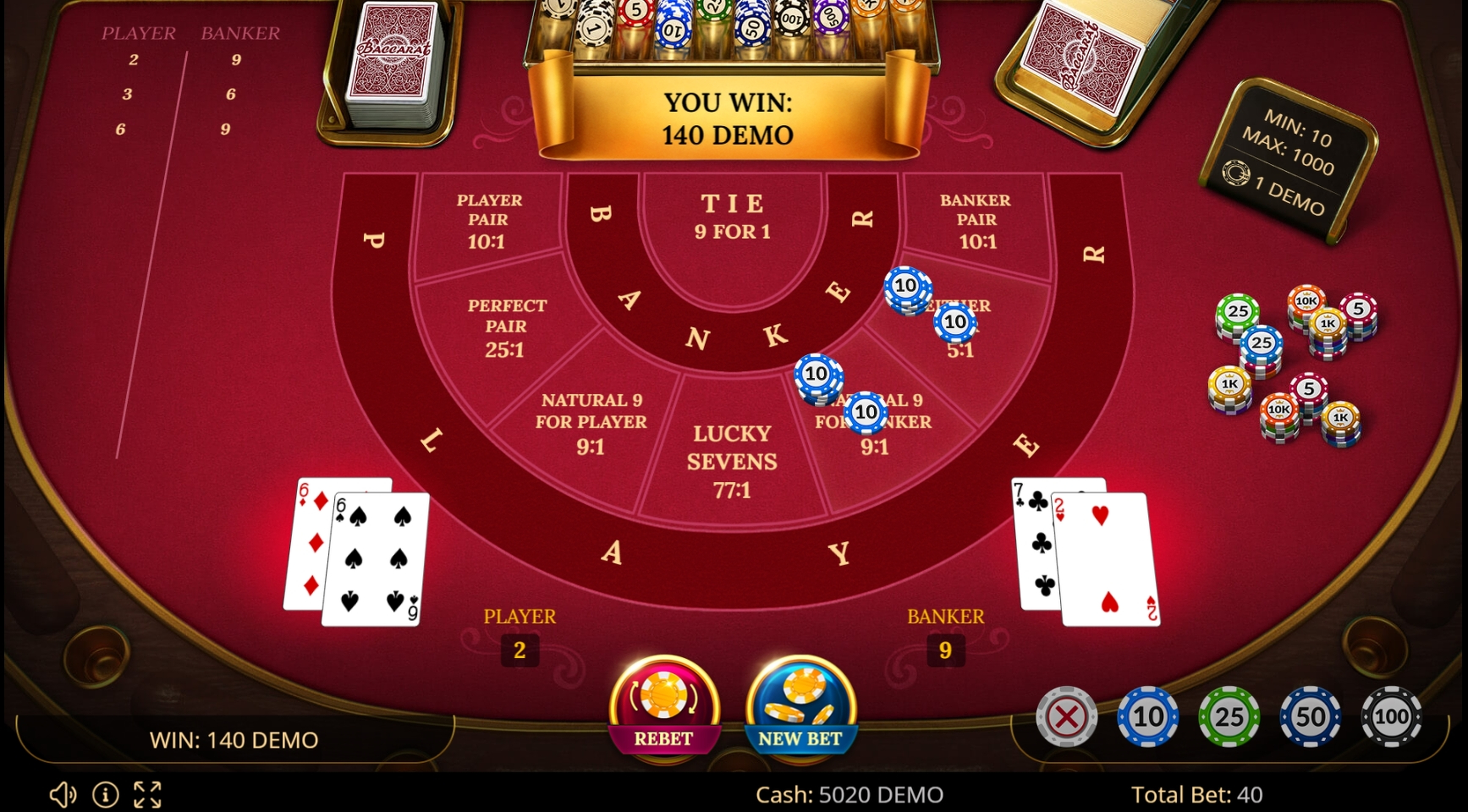 Win Money in Baccarat 777 Free Slot Game by Evoplay Entertainment