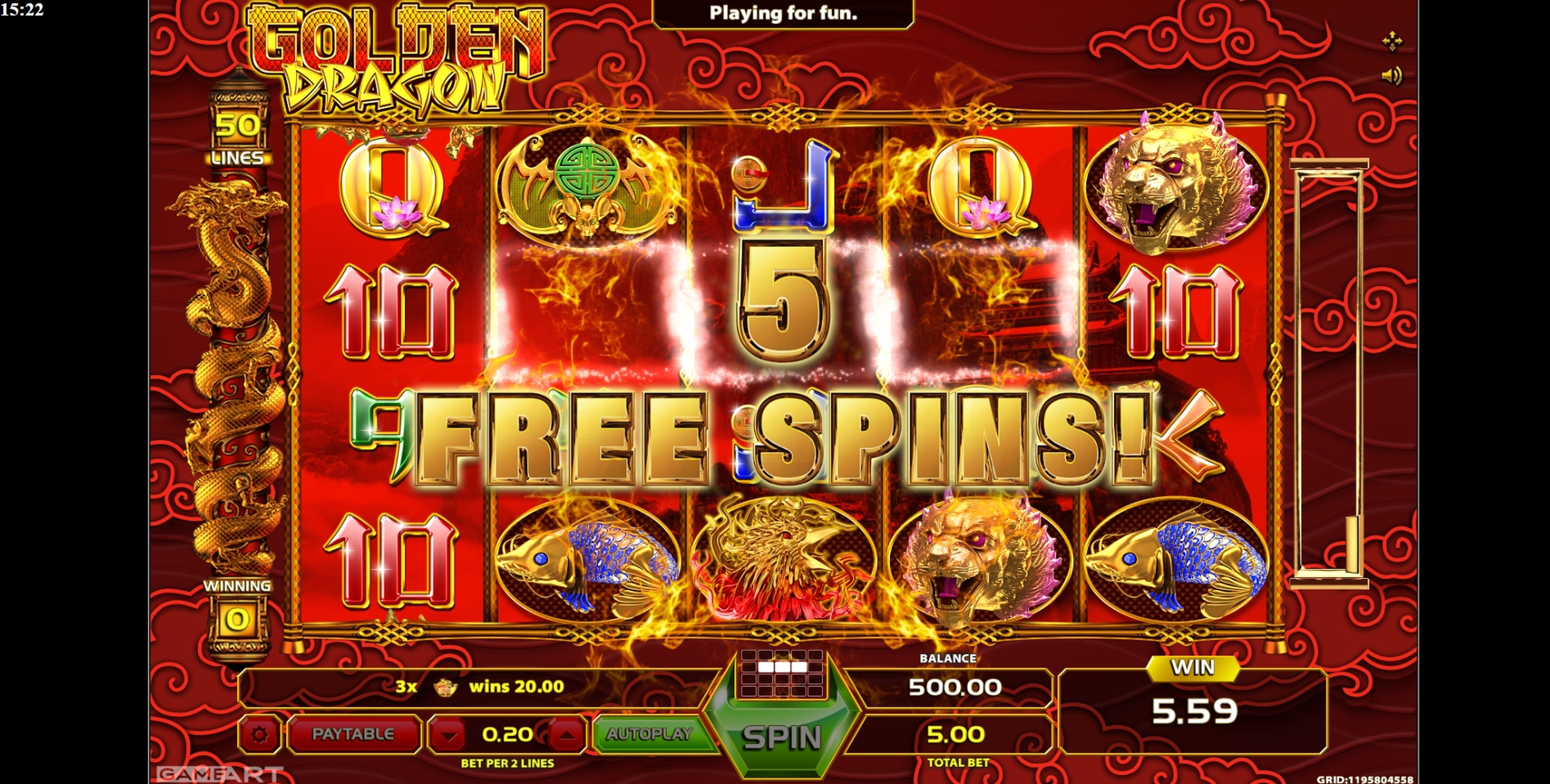 Win Money in Golden Dragon (GameArt) Free Slot Game by GameArt