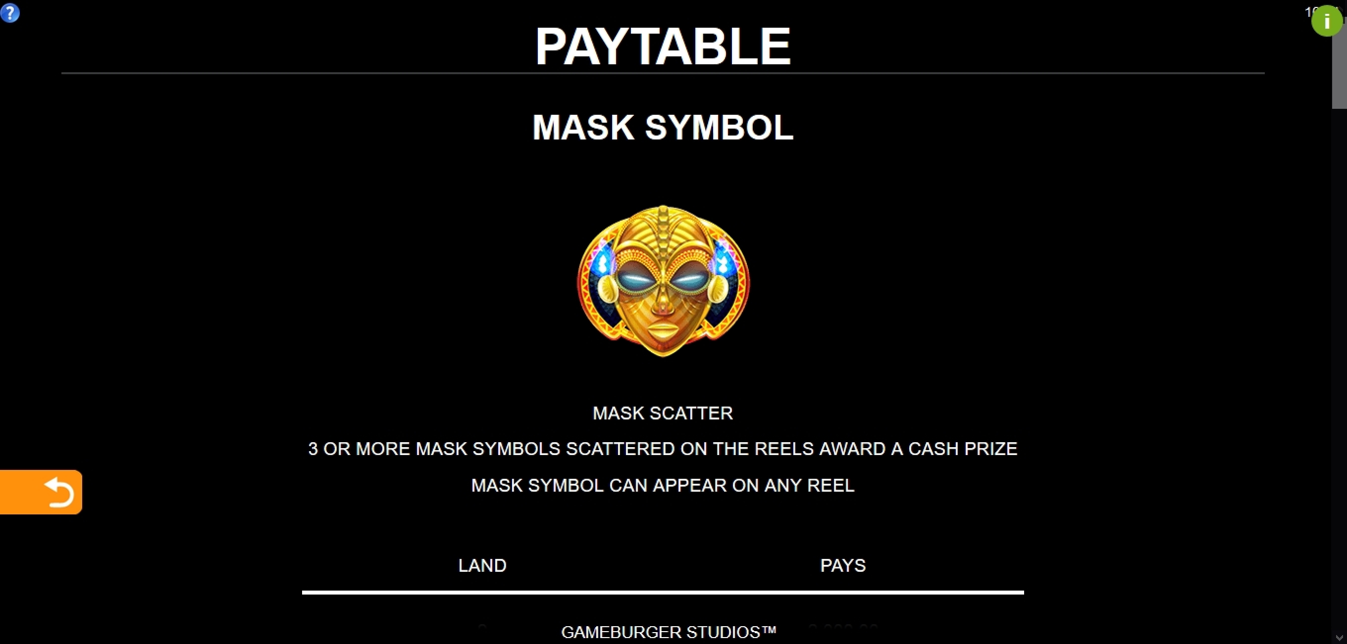 Info of 9 Masks Of Fire Slot Game by Gameburger Studios