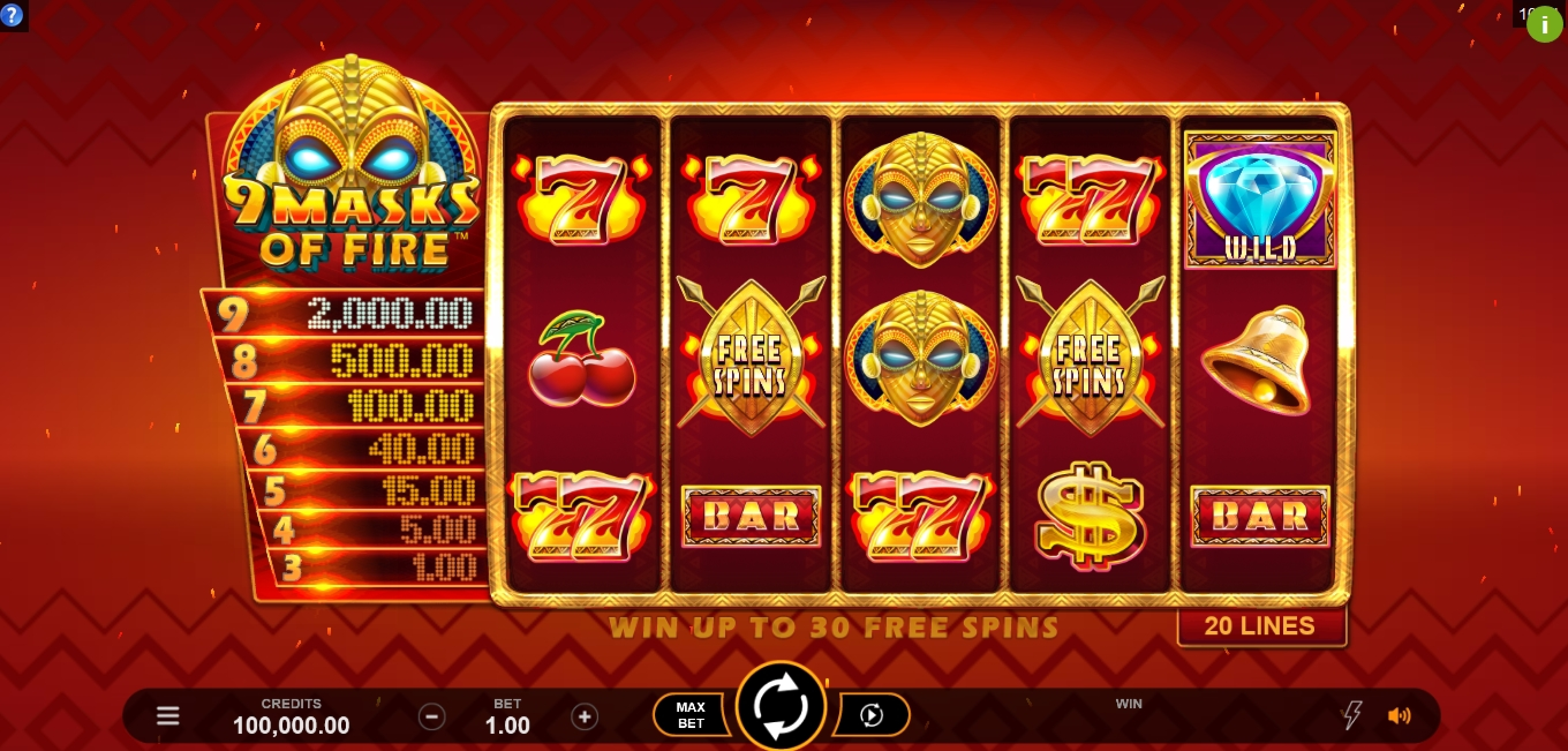 Reels in 9 Masks Of Fire Slot Game by Gameburger Studios