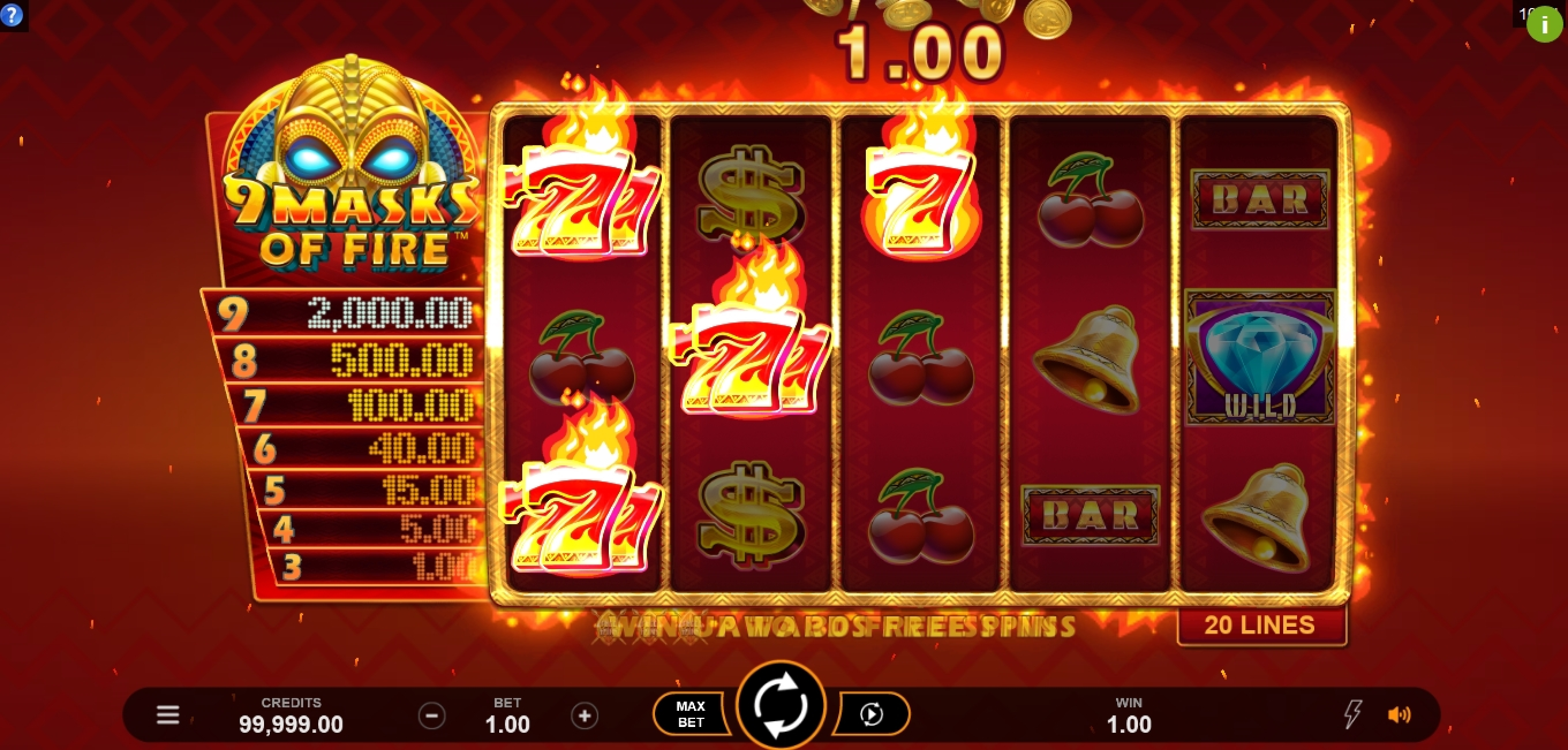 Win Money in 9 Masks Of Fire Free Slot Game by Gameburger Studios