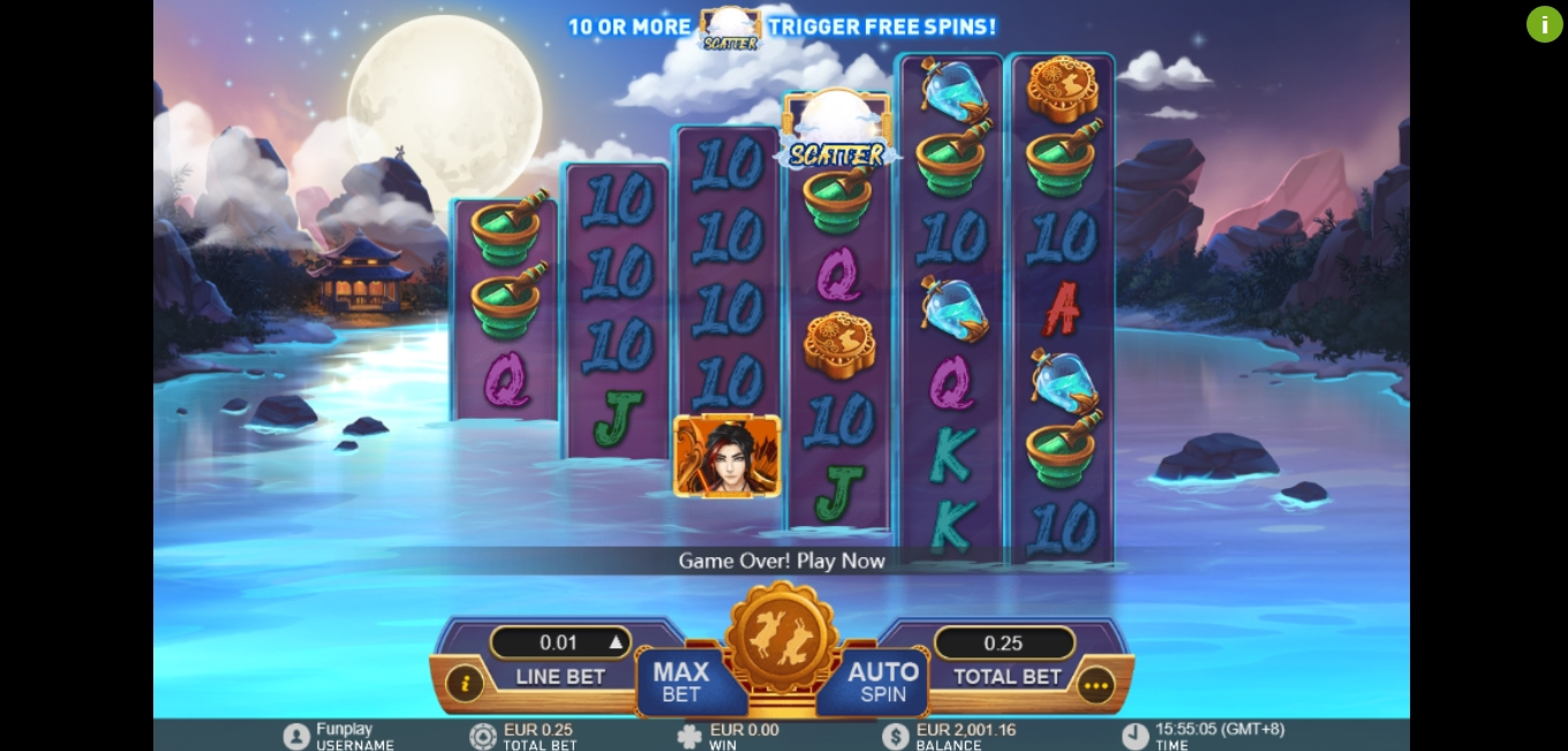 Reels in Lunar Legends Slot Game by Gameplay Interactive