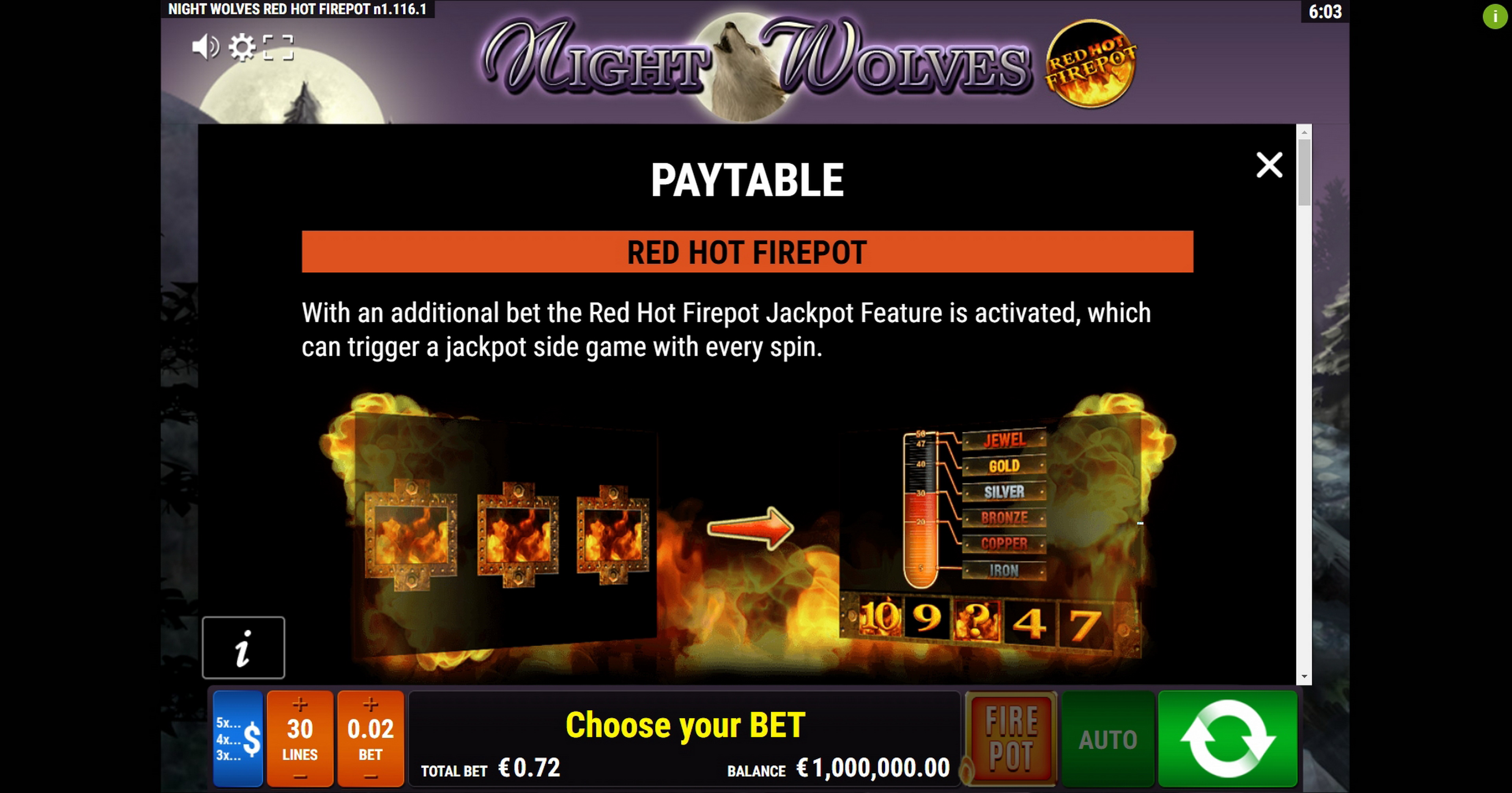 Info of Night Wolves RHFP Slot Game by Gamomat