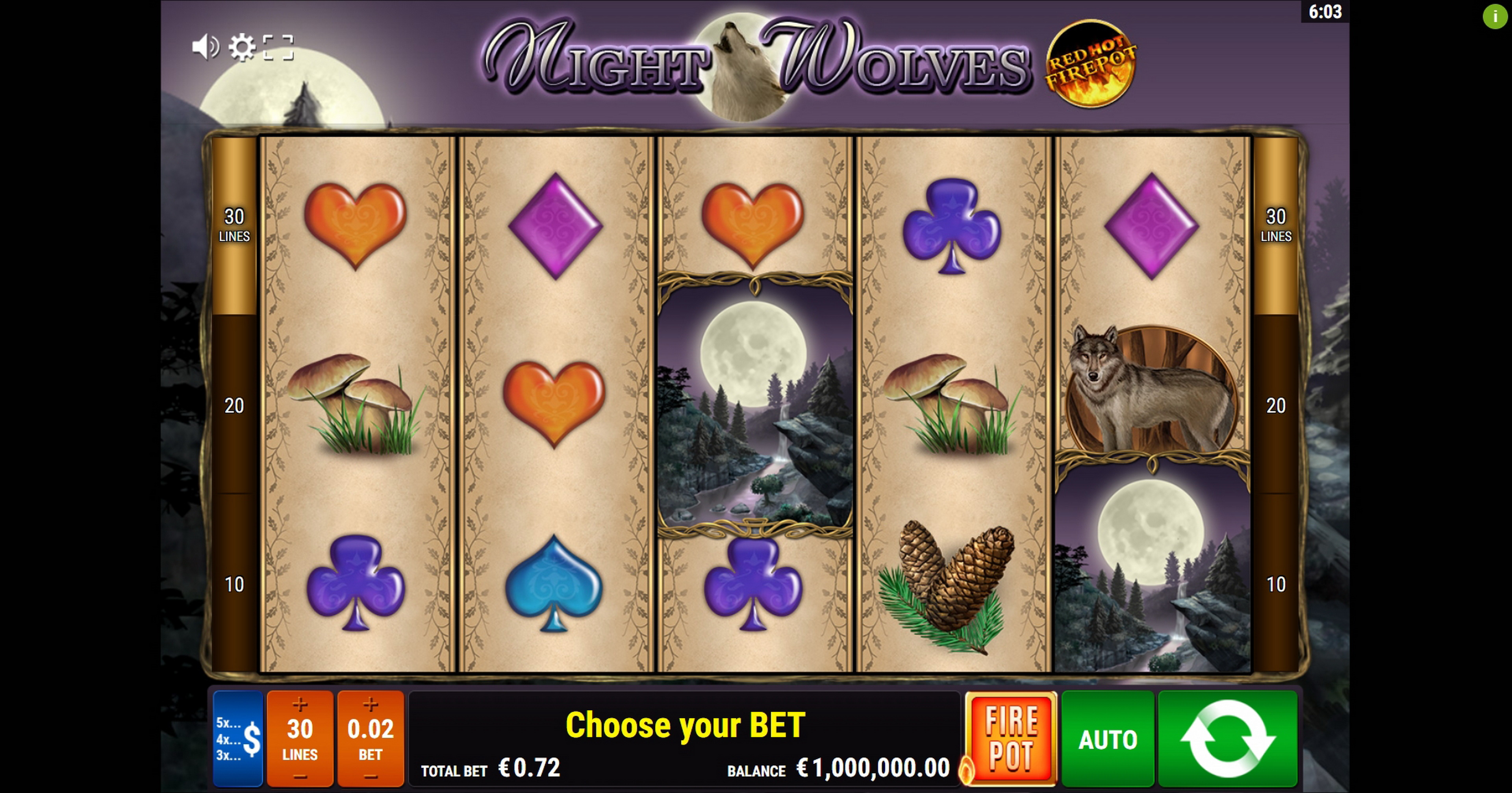 Reels in Night Wolves RHFP Slot Game by Gamomat