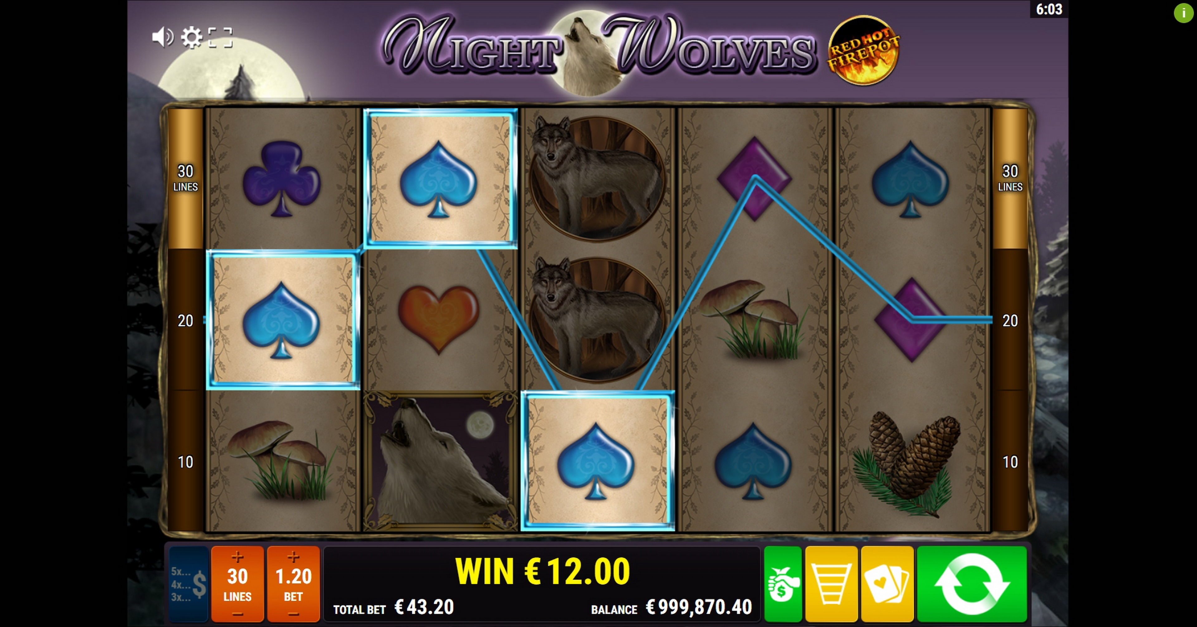 Win Money in Night Wolves RHFP Free Slot Game by Gamomat