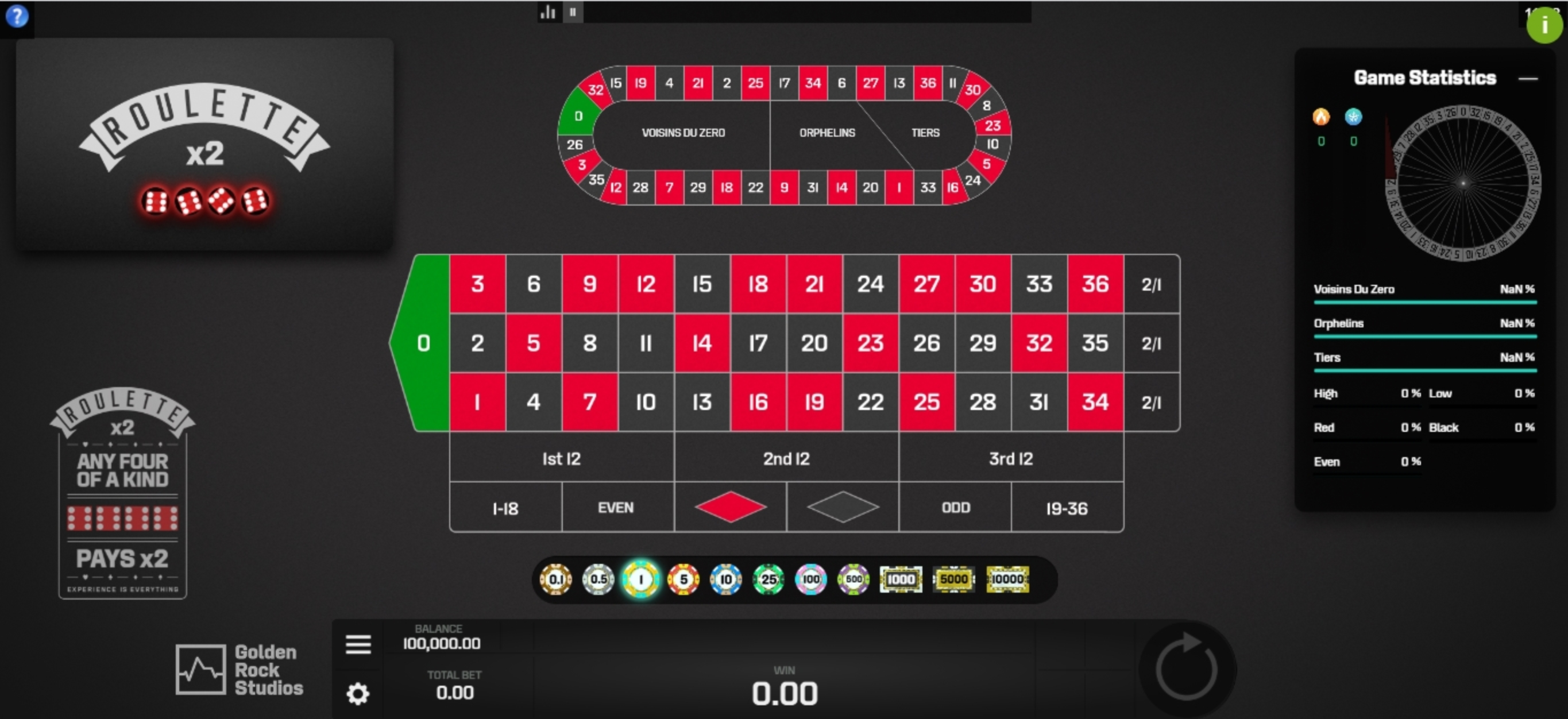 Reels in Roulette X2 Slot Game by Golden Rock Studios