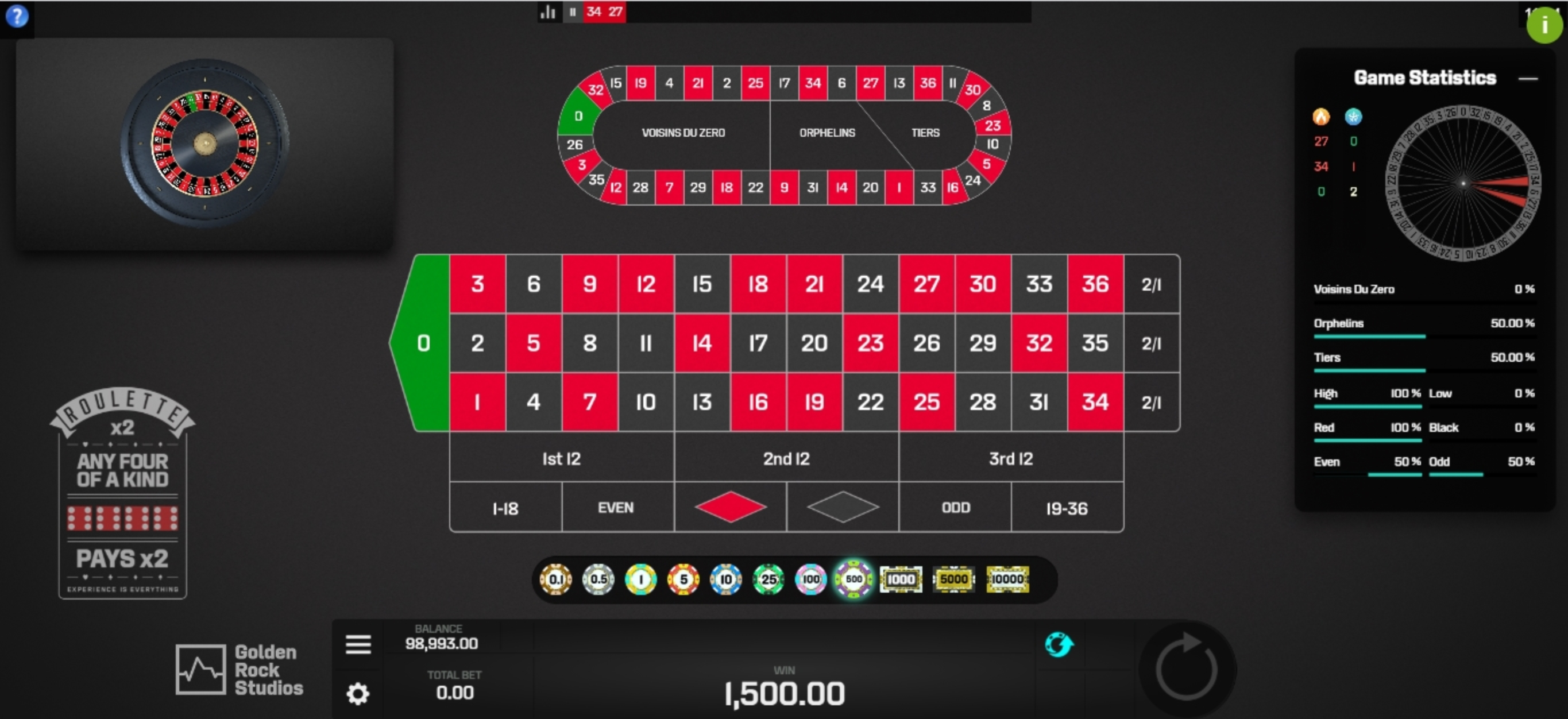 Win Money in Roulette X2 Free Slot Game by Golden Rock Studios