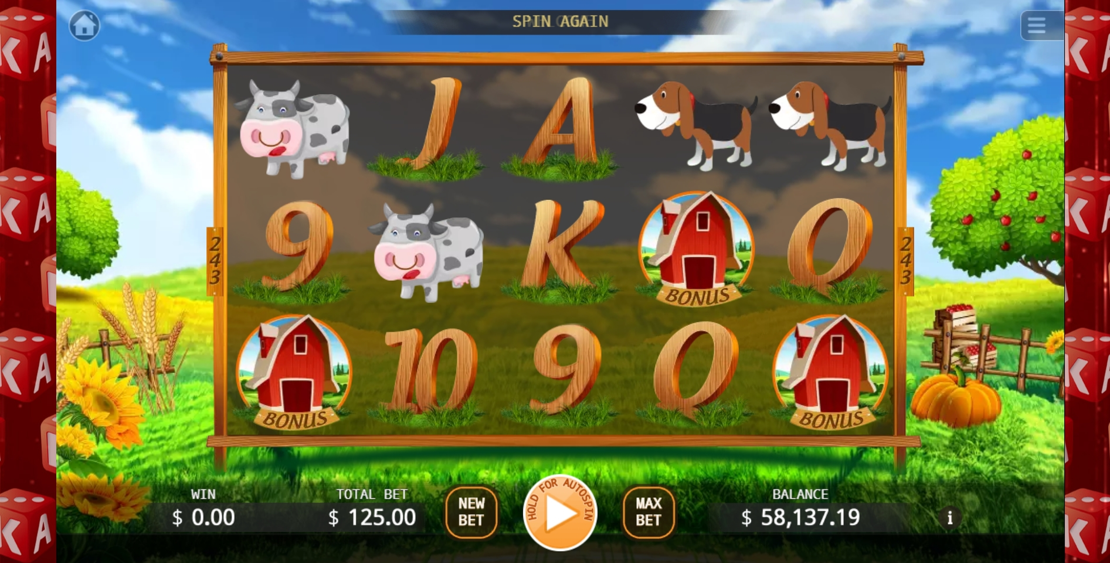 Reels in Farm Mania Slot Game by KA Gaming