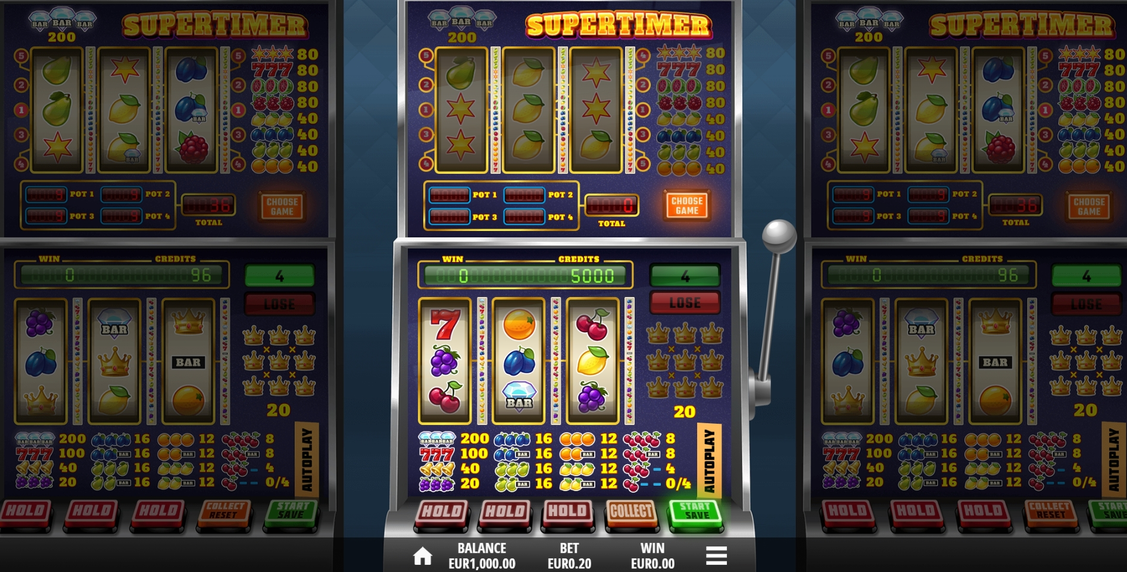 Reels in Supertimer Slot Game by Leander Games