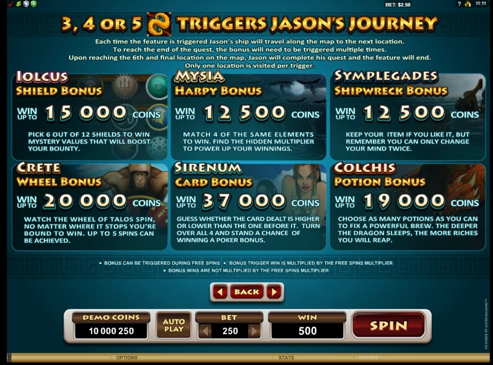Info of Jason And The Golden Fleece Slot Game by Microgaming
