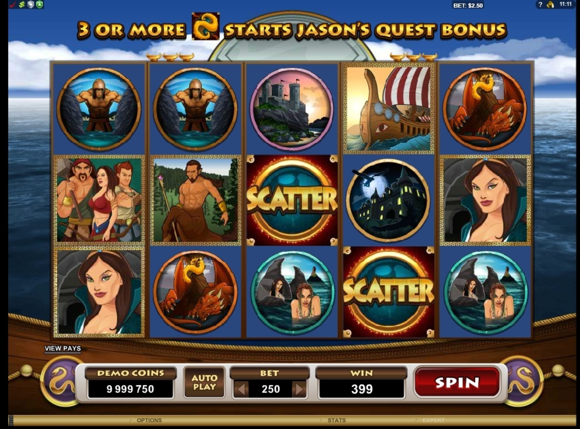 Win Money in Jason And The Golden Fleece Free Slot Game by Microgaming