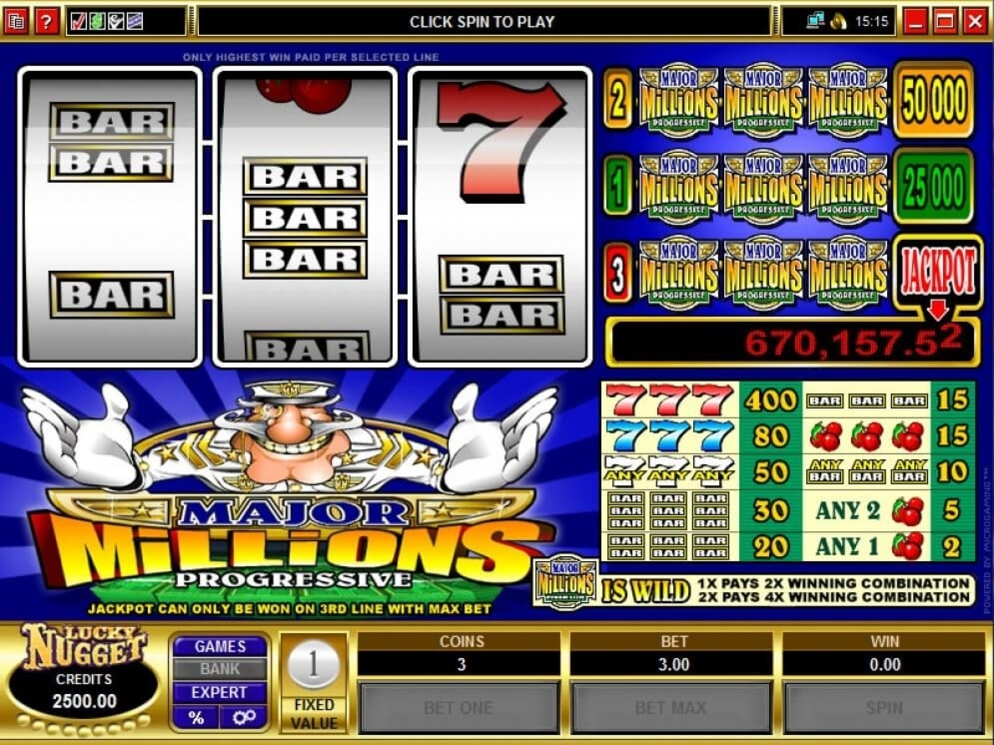 The Major Millions Online Slot Demo Game by Microgaming