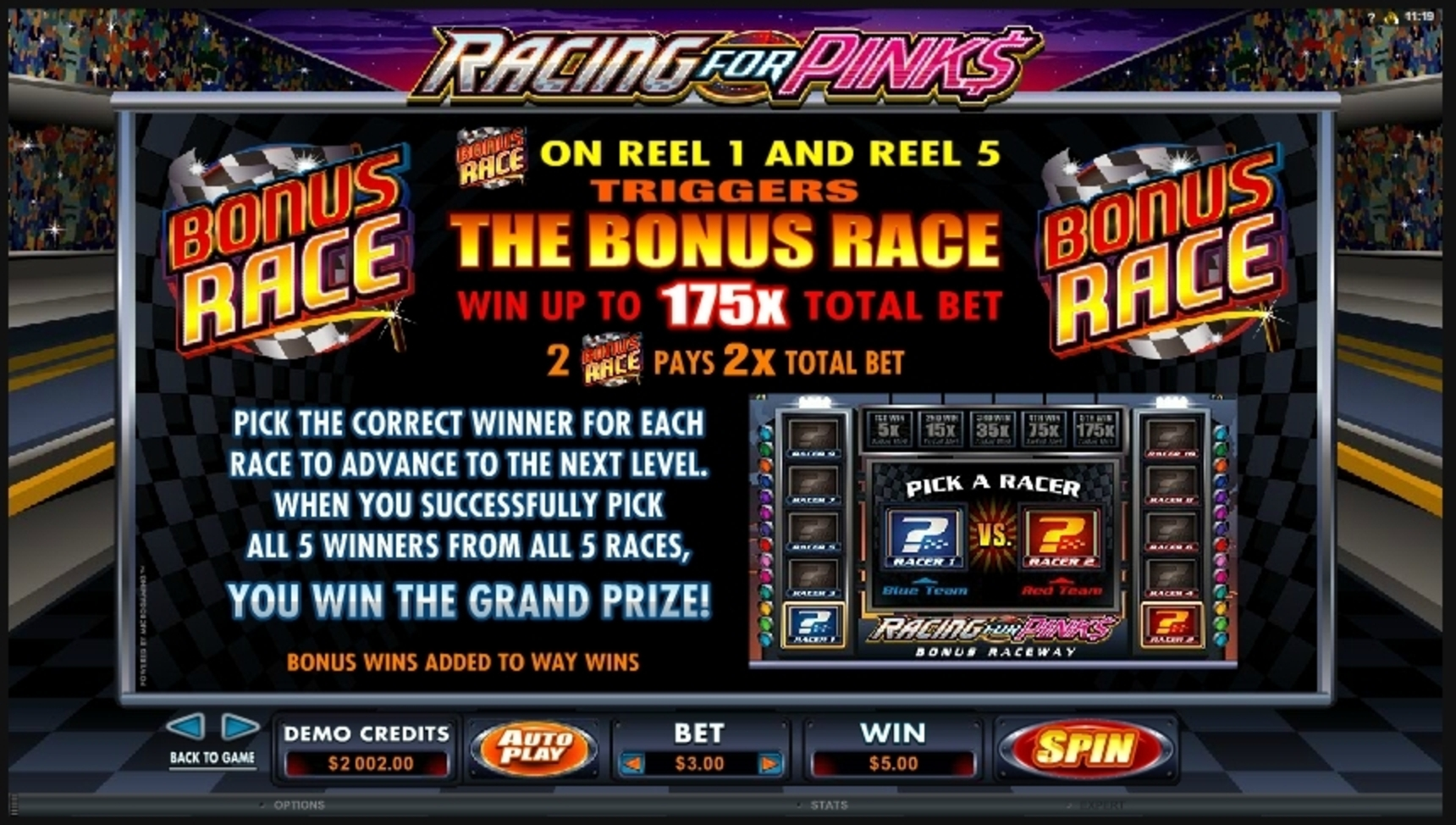 Info of Racing For Pinks Slot Game by Microgaming