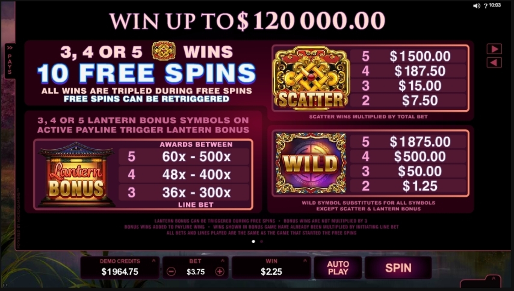 Info of Serenity Slot Game by Microgaming