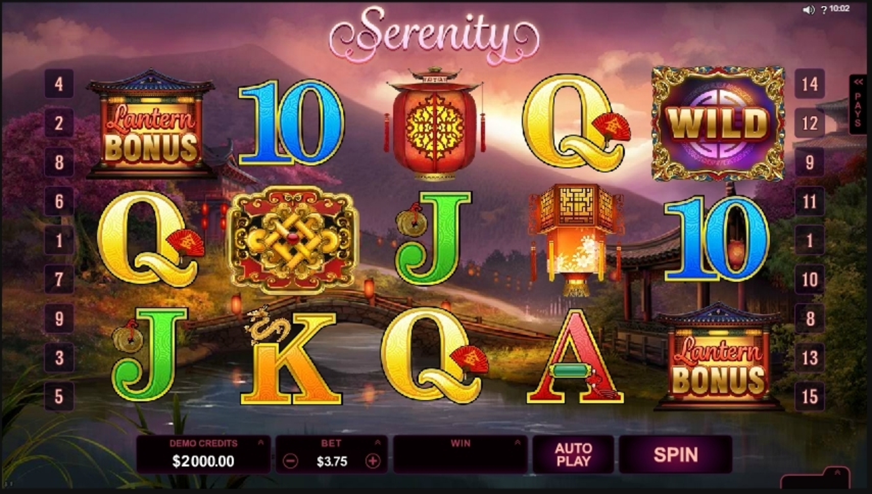 Reels in Serenity Slot Game by Microgaming