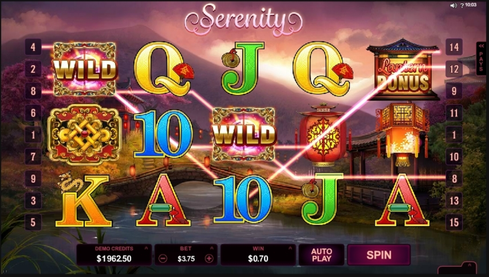 Win Money in Serenity Free Slot Game by Microgaming