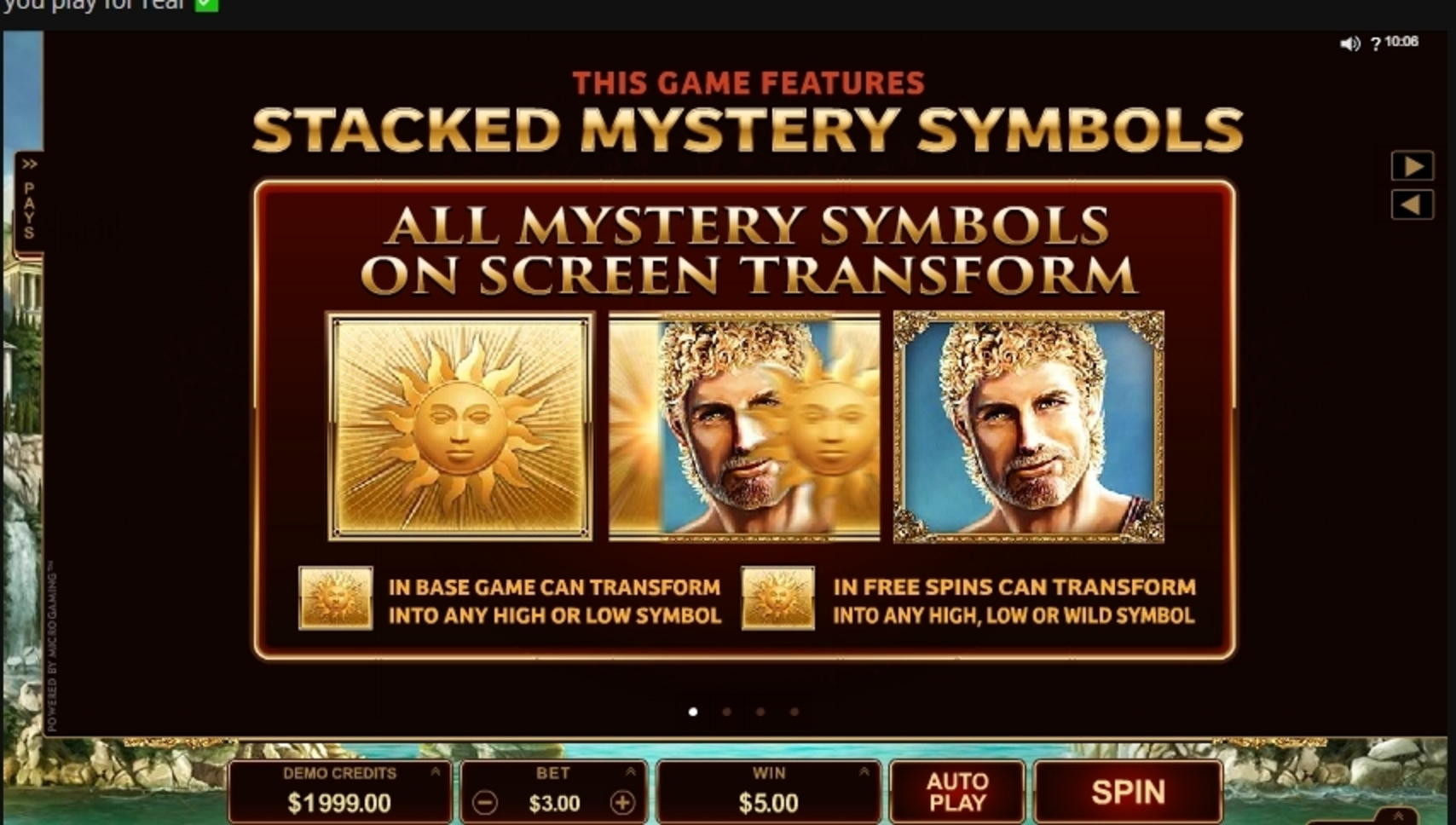 Info of Titans of the Sun Hyperion Slot Game by Microgaming