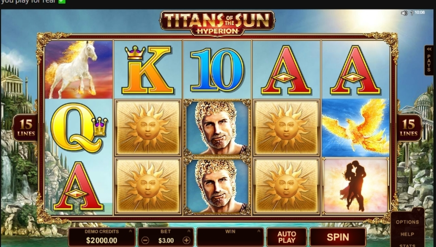 Reels in Titans of the Sun Hyperion Slot Game by Microgaming