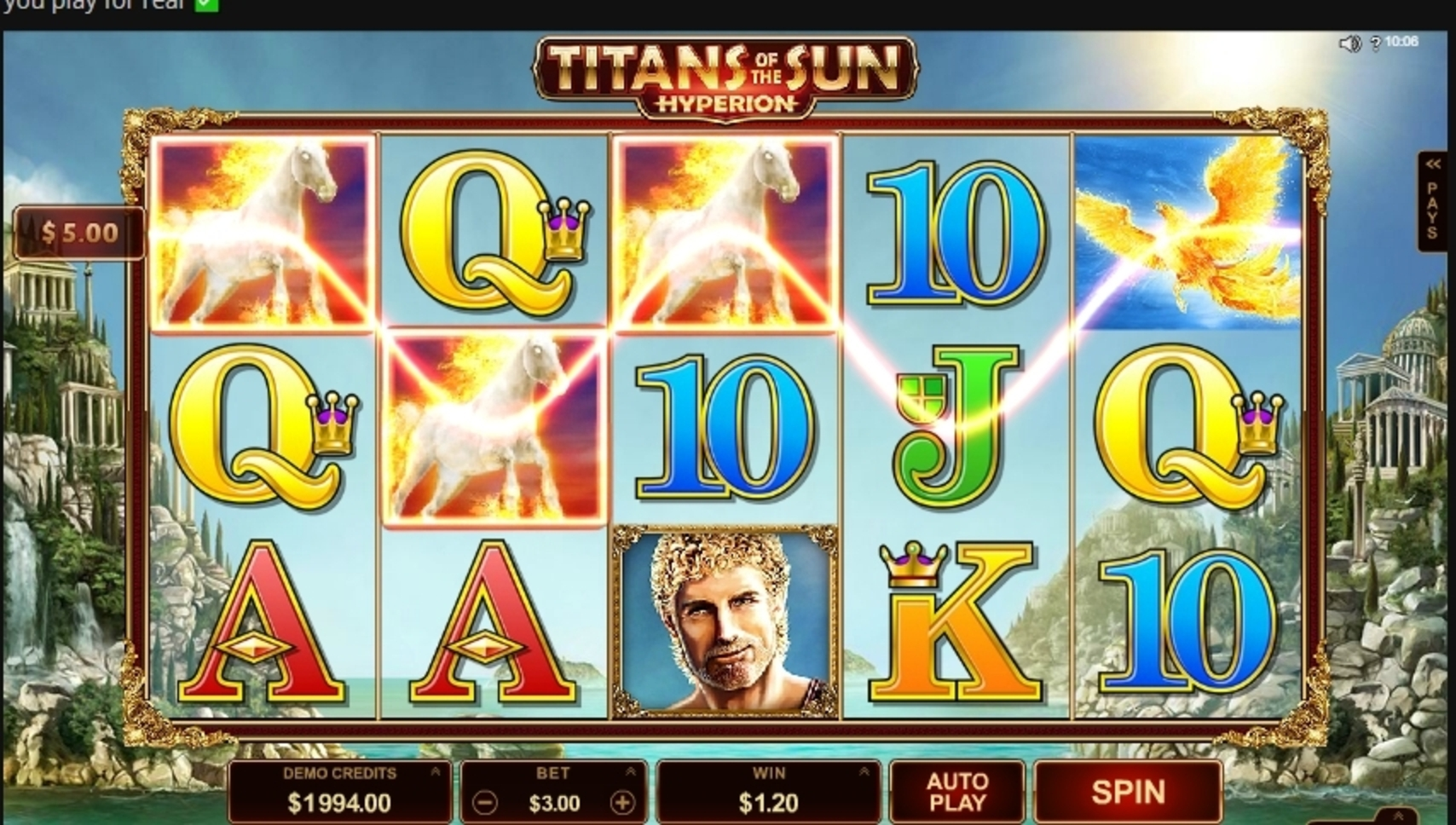 Win Money in Titans of the Sun Hyperion Free Slot Game by Microgaming