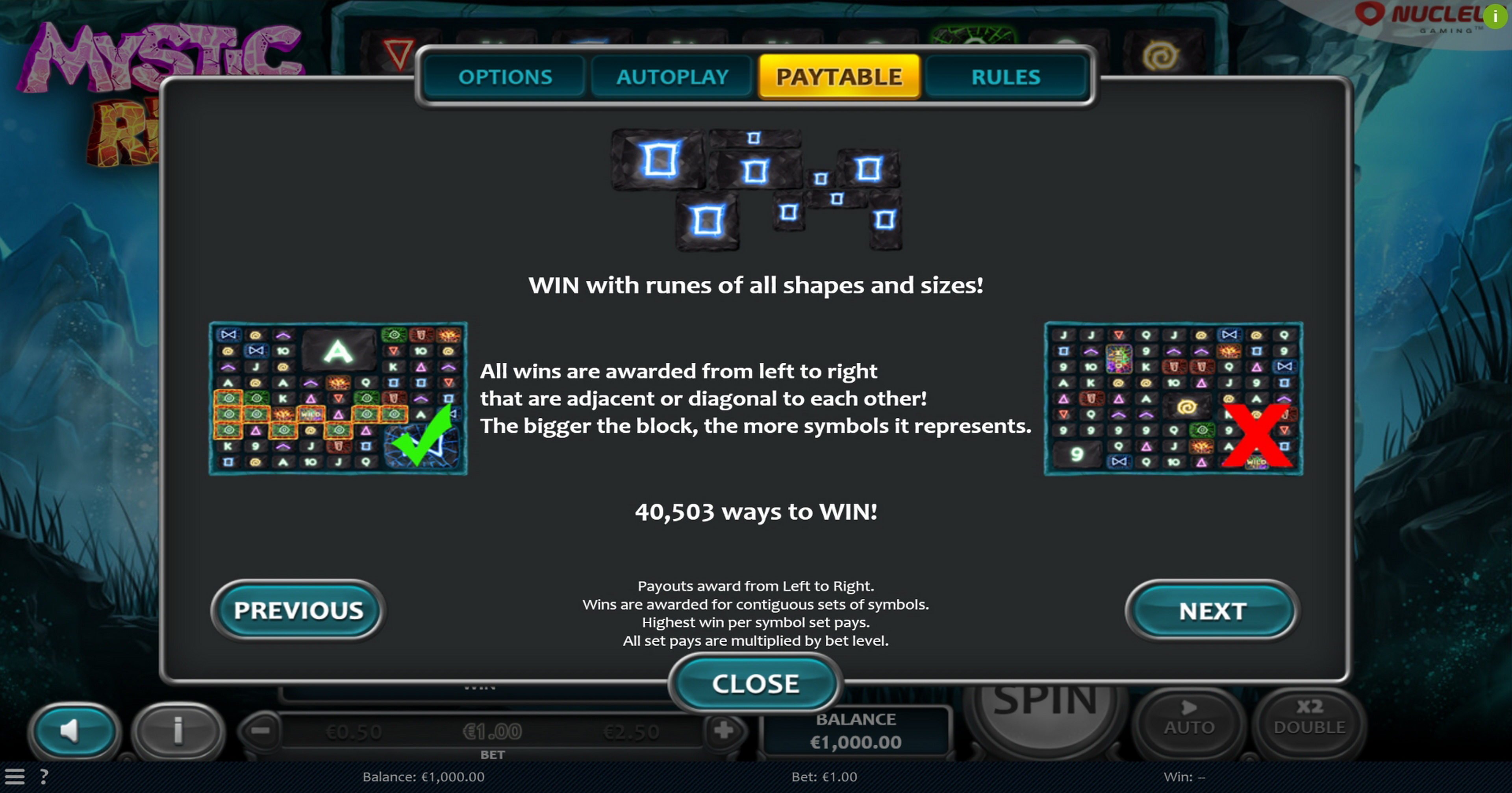 Info of Mystic Rift Slot Game by Nucleus Gaming