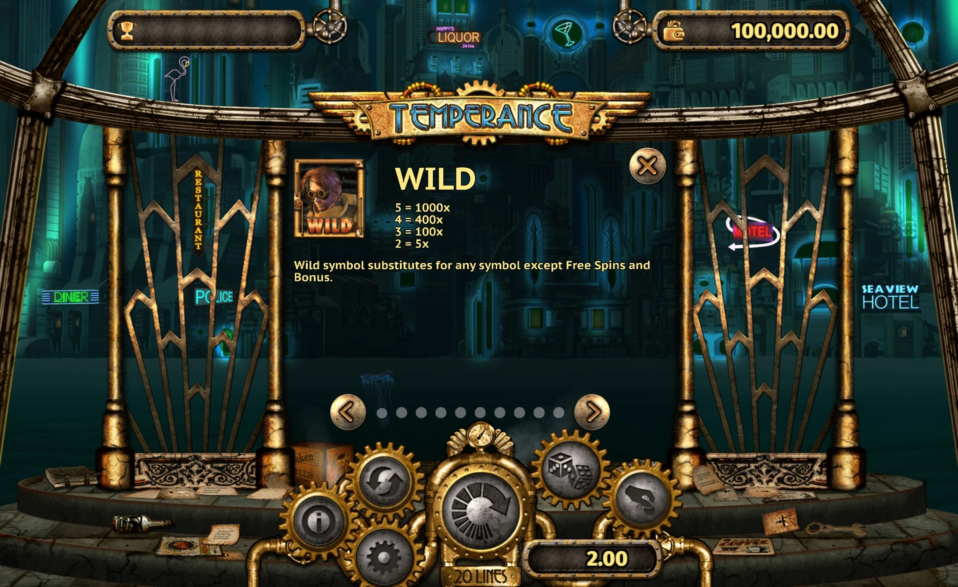 Info of Temperance Slot Game by Old Skool Studios