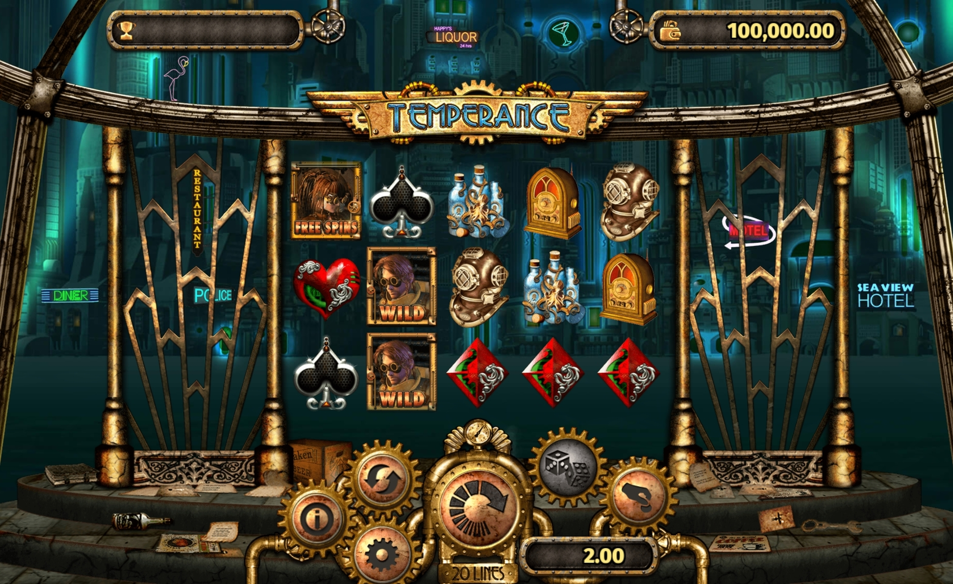 Reels in Temperance Slot Game by Old Skool Studios