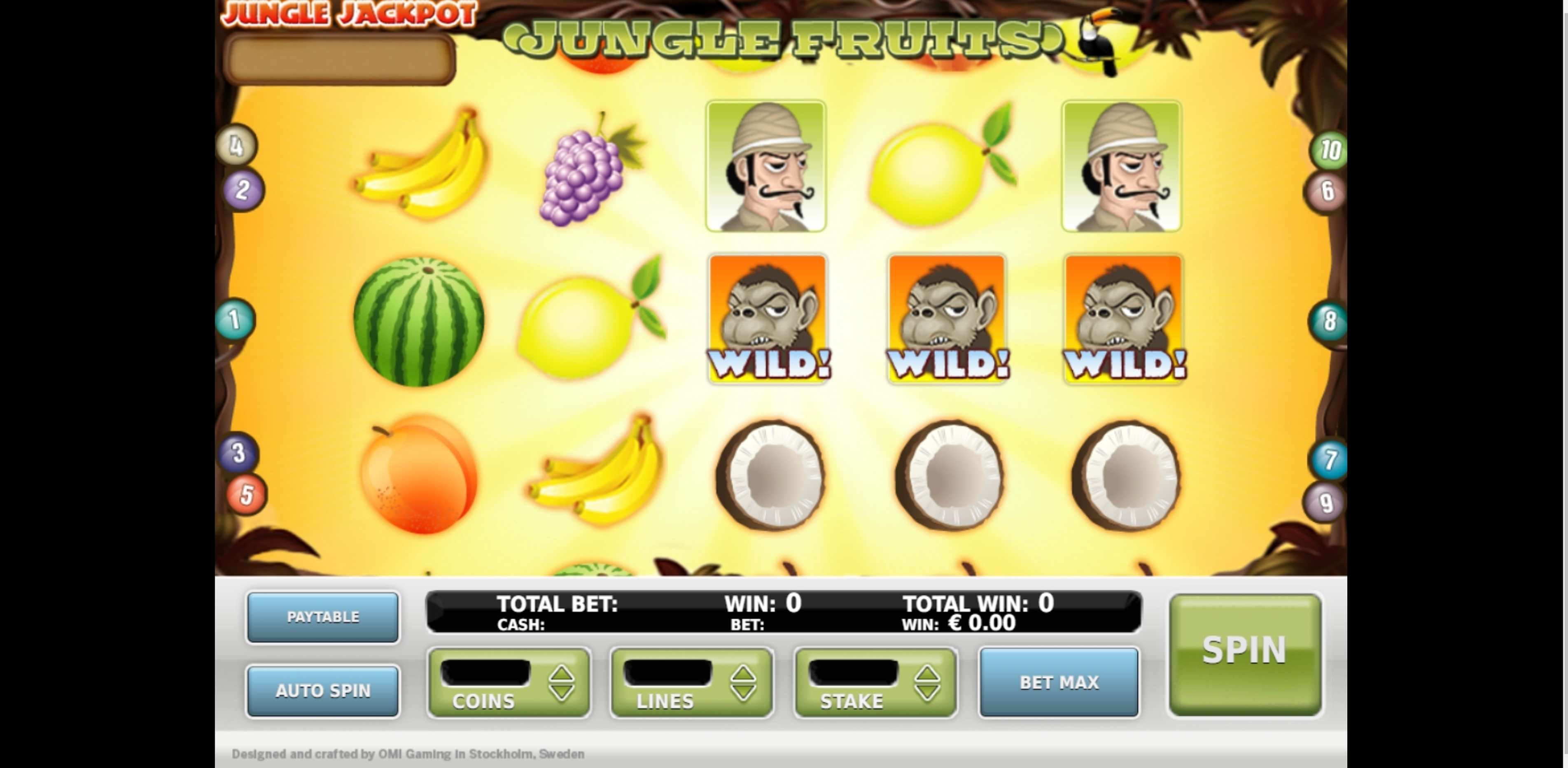 Reels in Jungle Fruits Slot Game by OMI Gaming
